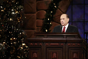 President Thomas S. Monson speaks during the annual First Presidency Devotional in the Conference Center Sunday, Dec. 6, 2009.