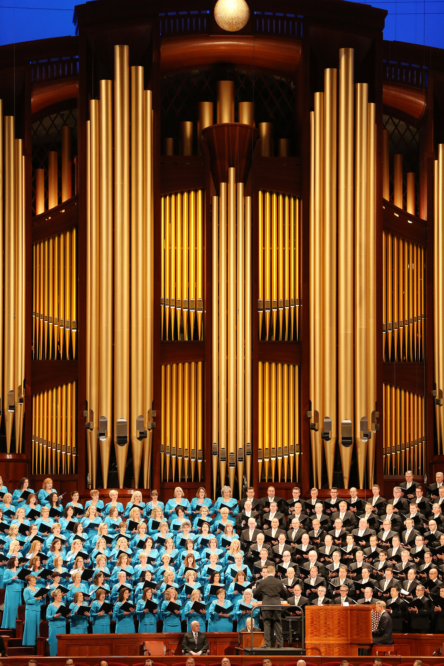 The Tabernacle Choir at Temple Square sings during the Sunday afternoon session of the 188th Semiannual General Conference of The Church of Jesus Christ of Latter-day Saints in the Conference Center in the Conference Center in downtown Salt Lake City on Sunday, Oct. 7, 2018.