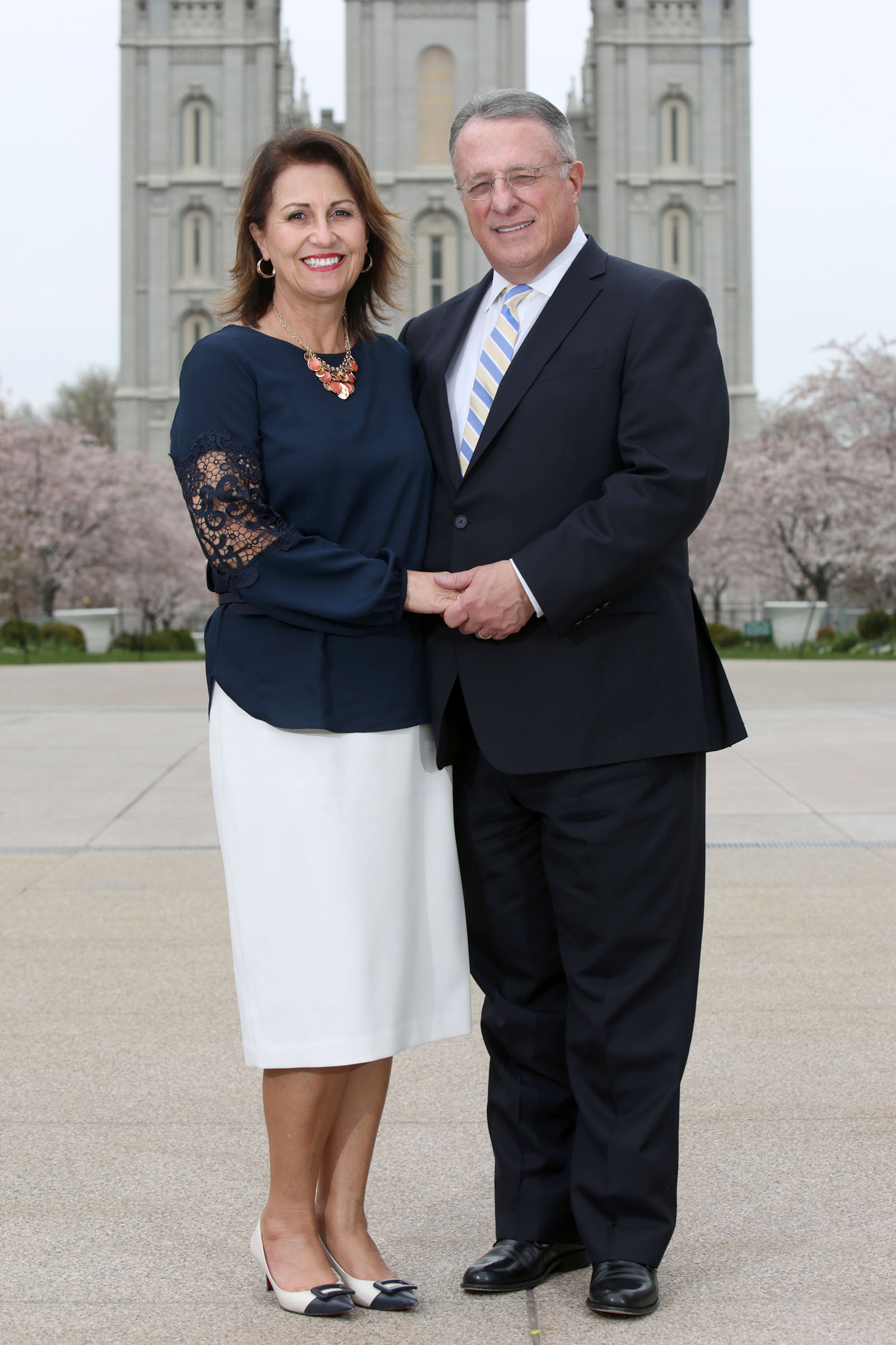 Sister Rosana Soares and Elder Ulisses Soares pose for a portrait outside of the Church Administration Building in Salt Lake City on Wednesday, April 4, 2018. In 2019, Elder Soares returned to the neighborhood of his youth on assignment.