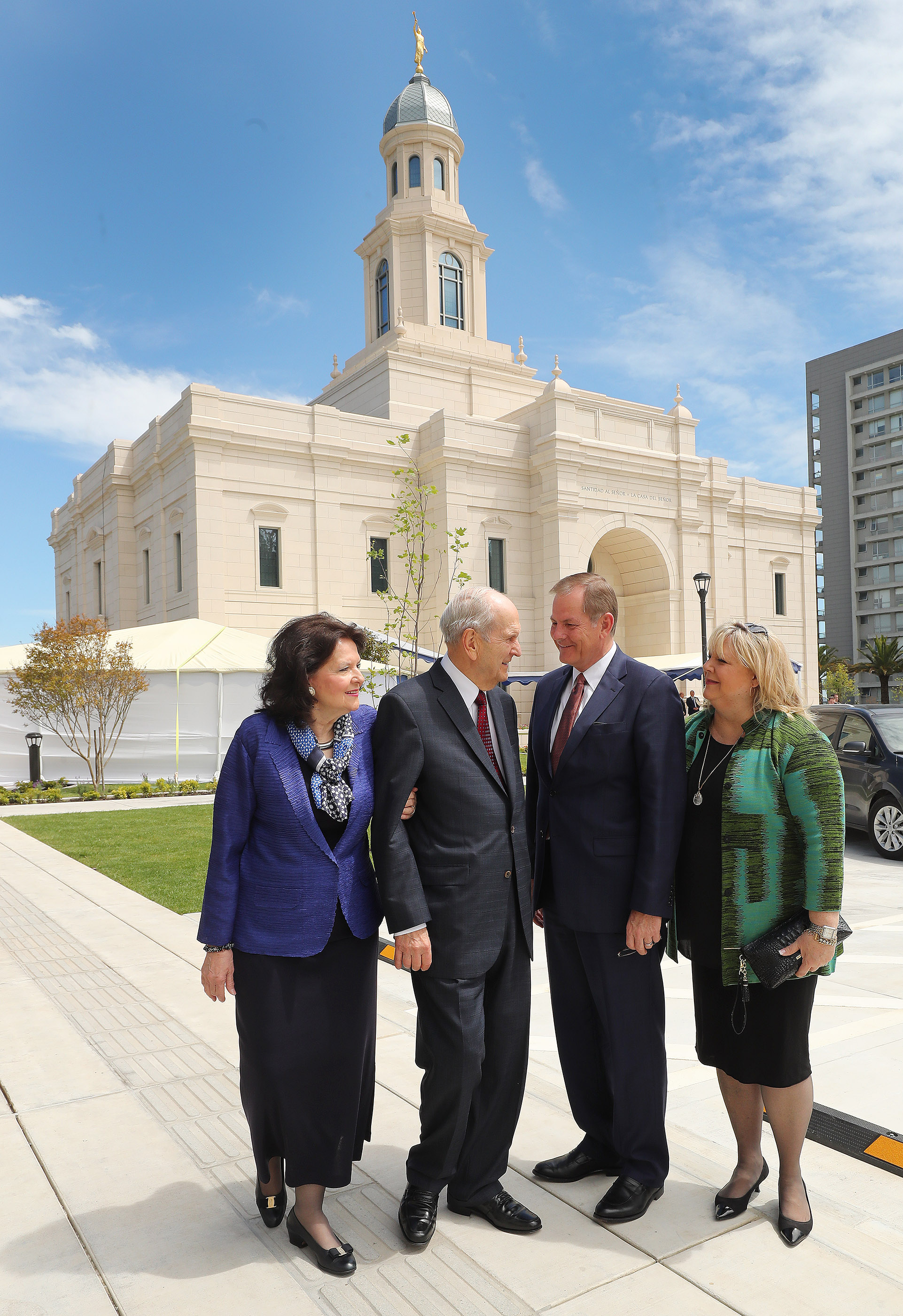 President Russell M. Nelson of The Church of Jesus Christ of Latter-day Saints and his wife, Sister Wendy Nelson, and Elder Gary E. Stevenson of the Quorum of the Twelve Apostles, and his wife, Sister Lesa Stevenson, stand near the temple in Concepcion, Chile, on Saturday, Oct. 27, 2018.