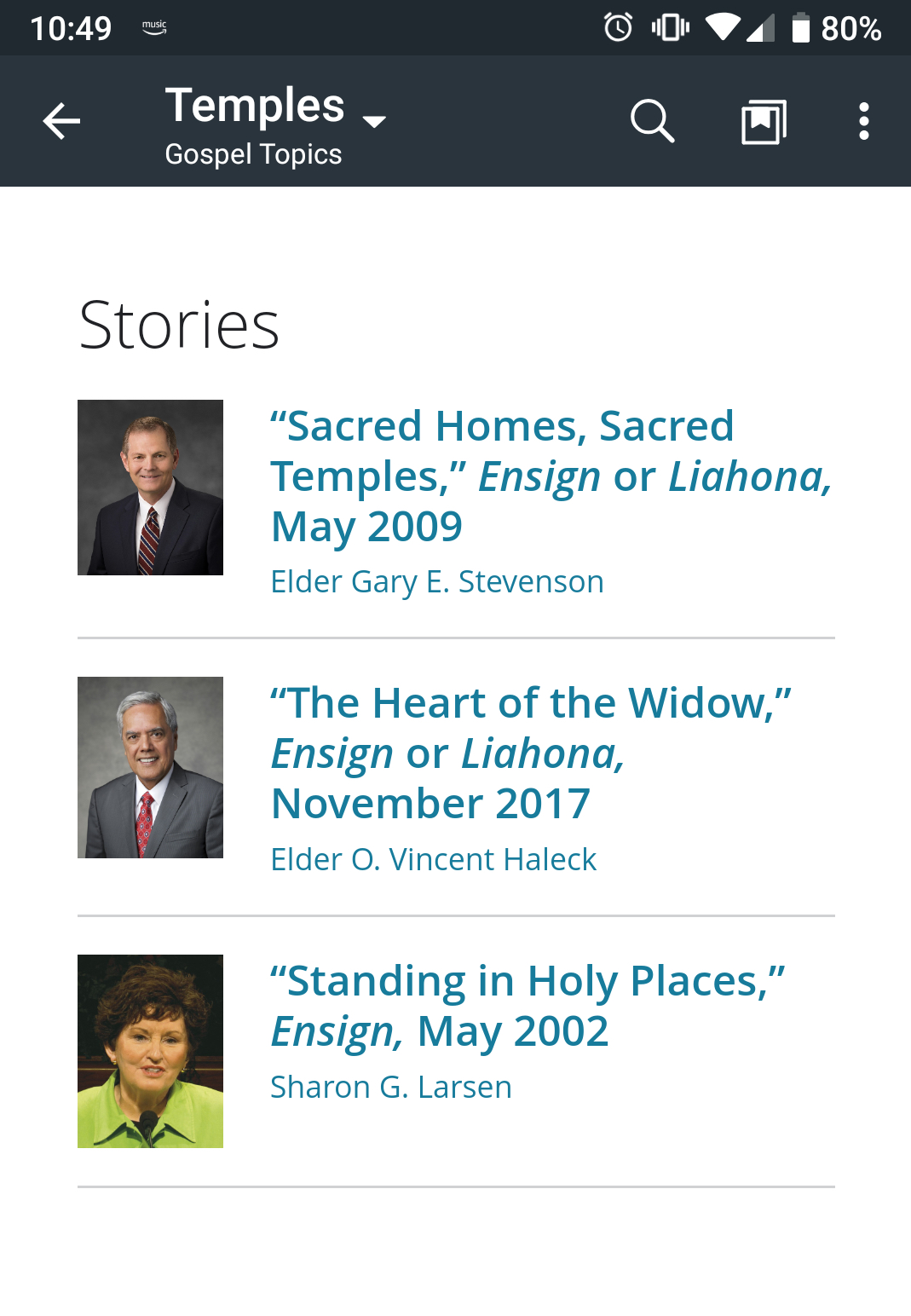 Screenshot of the new resource found in the Gospel Topics tab in the Gospel Library.