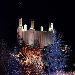 Thousands of Christmas lights frame the Washington D.C. Temple.
