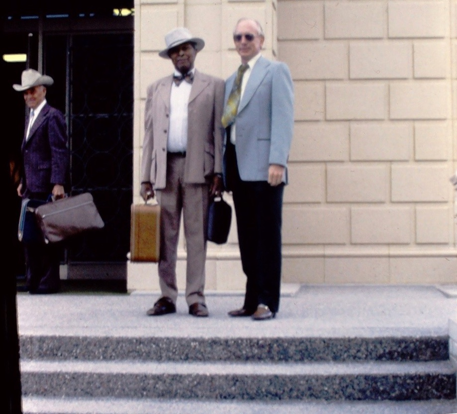 From left: Eldon Smith, who baptized Harry Bailey Jr. in 1953, and Harry with Irval Mortensen.
