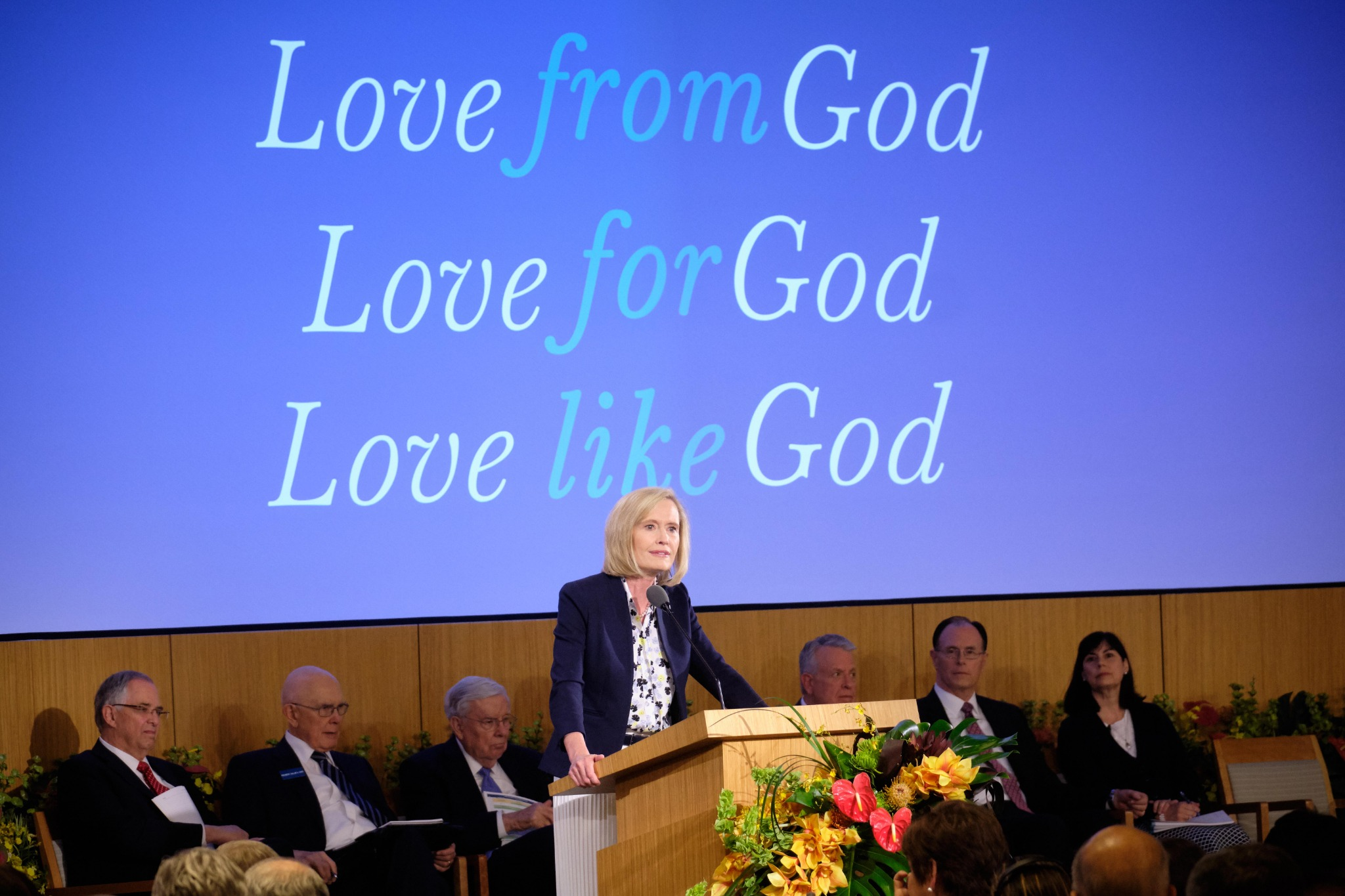 Sister Bonnie H. Cordon teaches about God's love during her presentation at the 2019 Mission Leadership Seminar on June 23, 2019, at the Provo MTC.