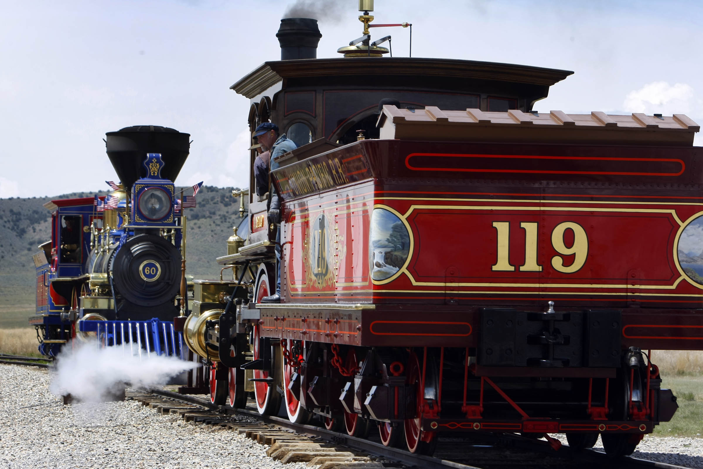 The Jupiter and the 119 meet nose to nose prior to the ceremony Monday, May 10, 2010. The Golden Spike National Historic Site celebrates the 141st anniversary of the day the country was united by rail.