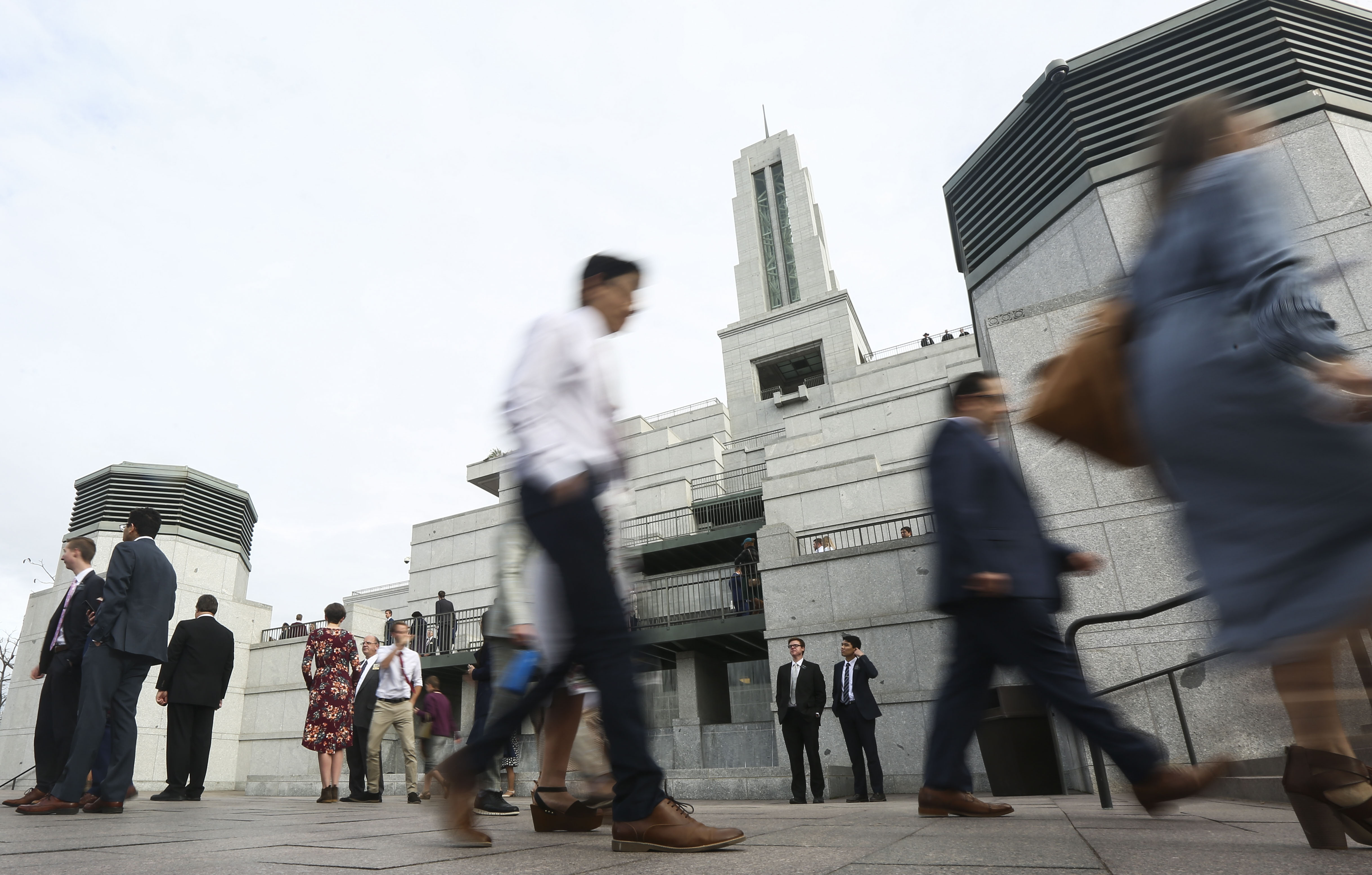 Conferencegoers arrive at the Conference Center for the Sunday morning session of the 189th Annual General Conference of The Church of Jesus Christ of Latter-day Saints in Salt Lake City on Sunday, April 7, 2019.