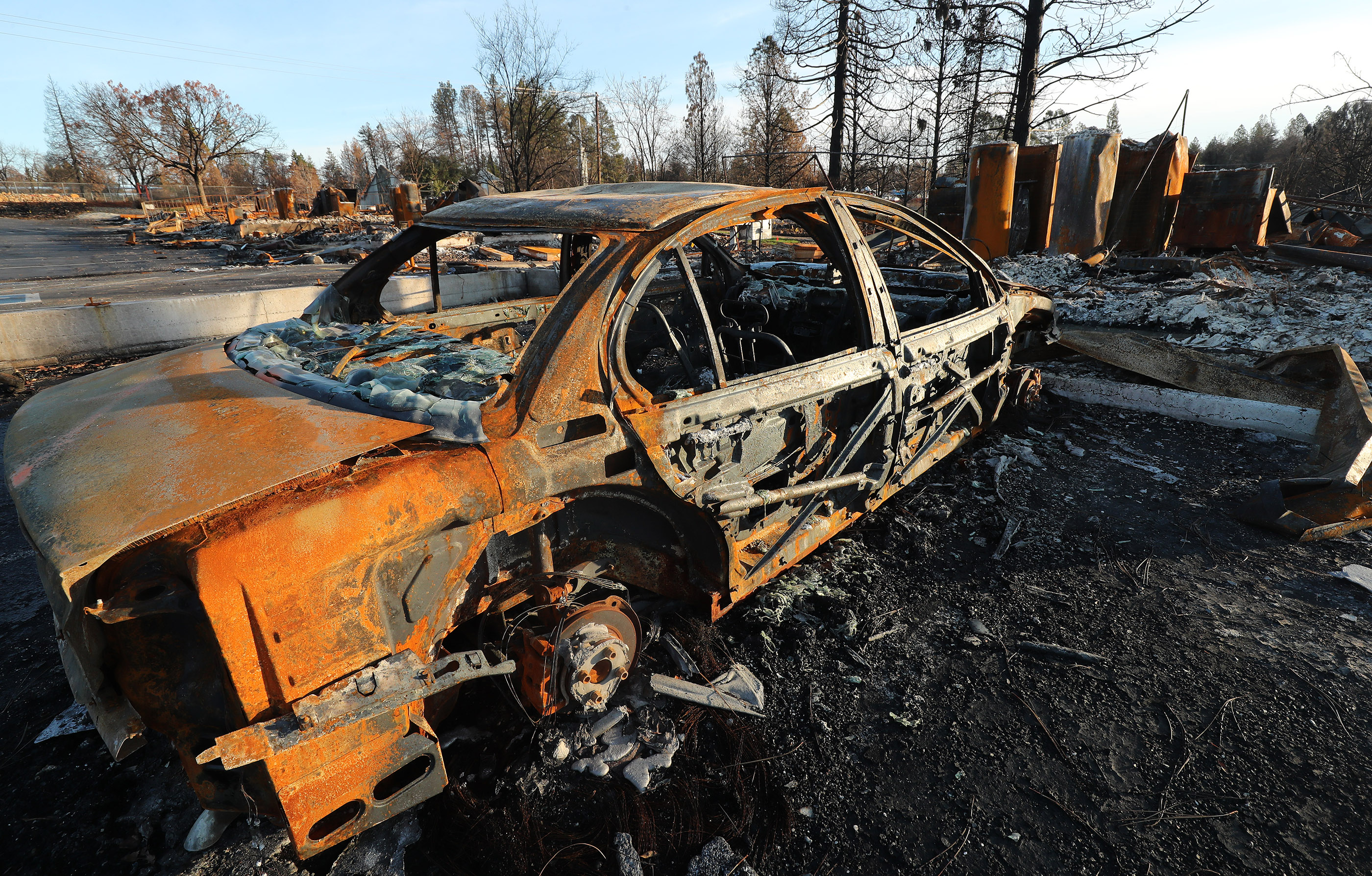 A car was destroyed in Paradise, California, on Saturday, Jan. 12, 2019, two months after the Camp Fire destroyed more than 18,000 homes and businesses.