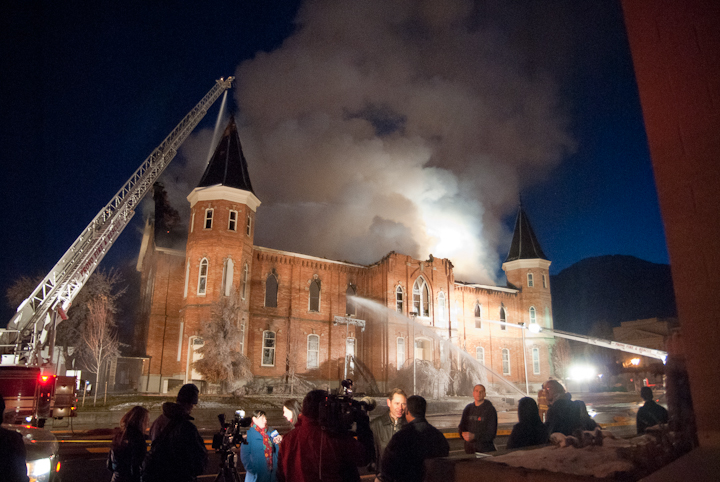 Firiefighters battle blaze that destroyed Provo Tabernacle on Dec. 17, 2010. From the ashes, the Provo City Center Temple has been constructed.