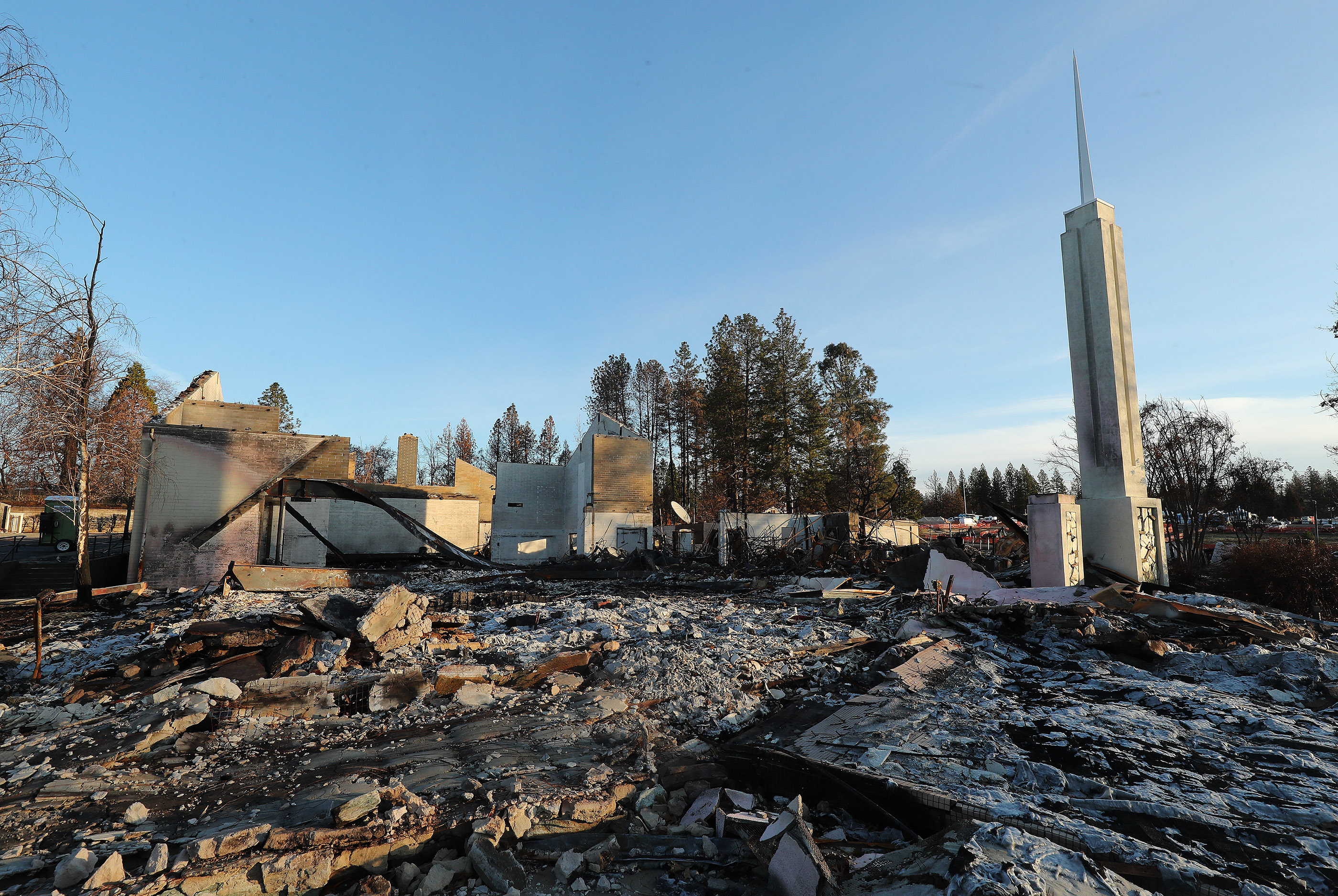 The Paradise LDS 1st Ward meetinghouse was destroyed in Paradise, California, on Saturday, Jan. 12, 2019, two months after the Camp Fire destroyed destroyed more than 18,000 homes and businesses..