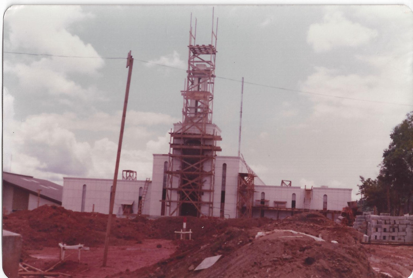 A photo of the LDS Church's São Paulo Temple during construction in São Paulo, Brazil between 1976 and 1978.