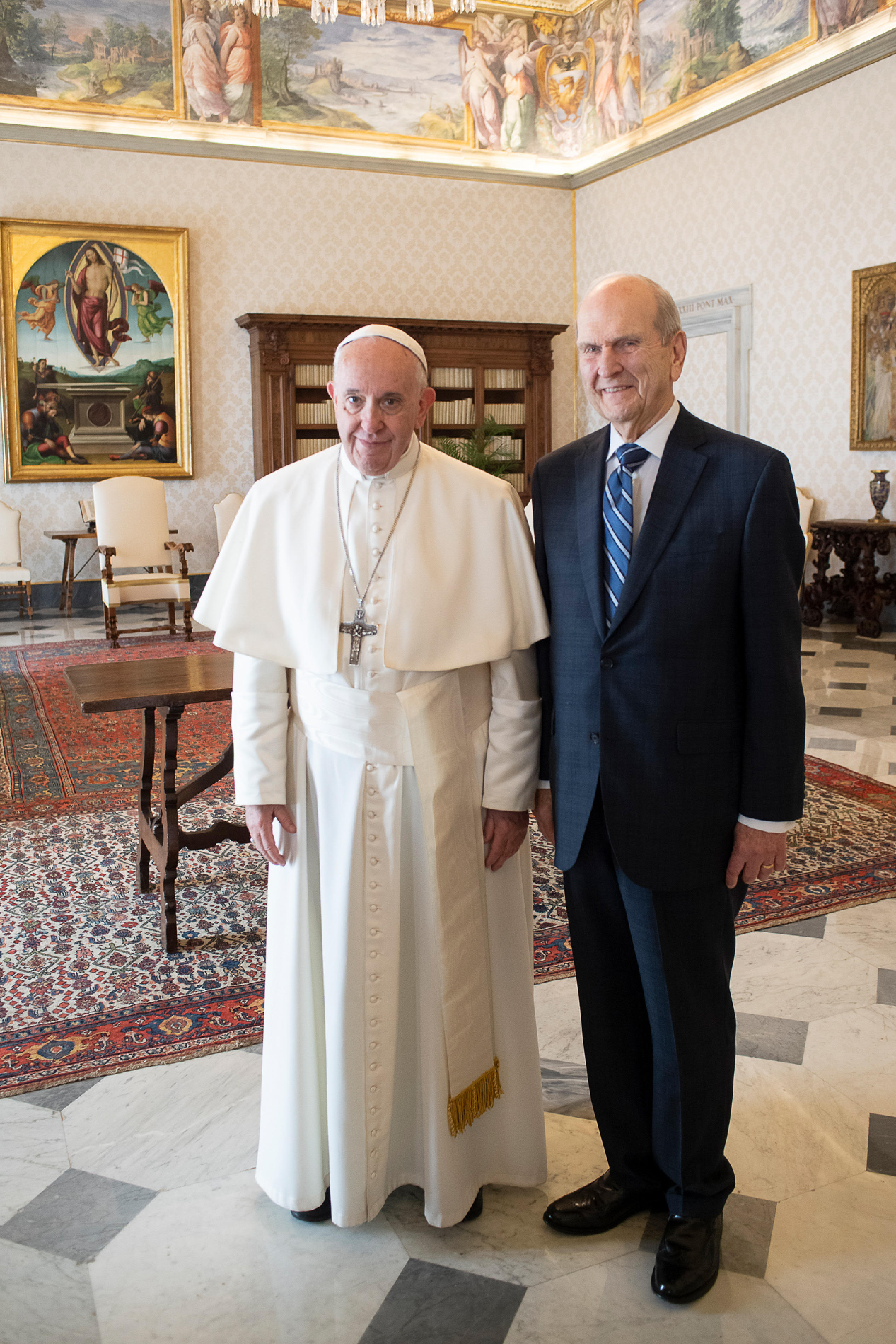 President Russell M. Nelson of The Church of Jesus Christ of Latter-day Saints meets with Pope Francis at the Vatican in Rome, Italy, on Saturday, March 9, 2019.