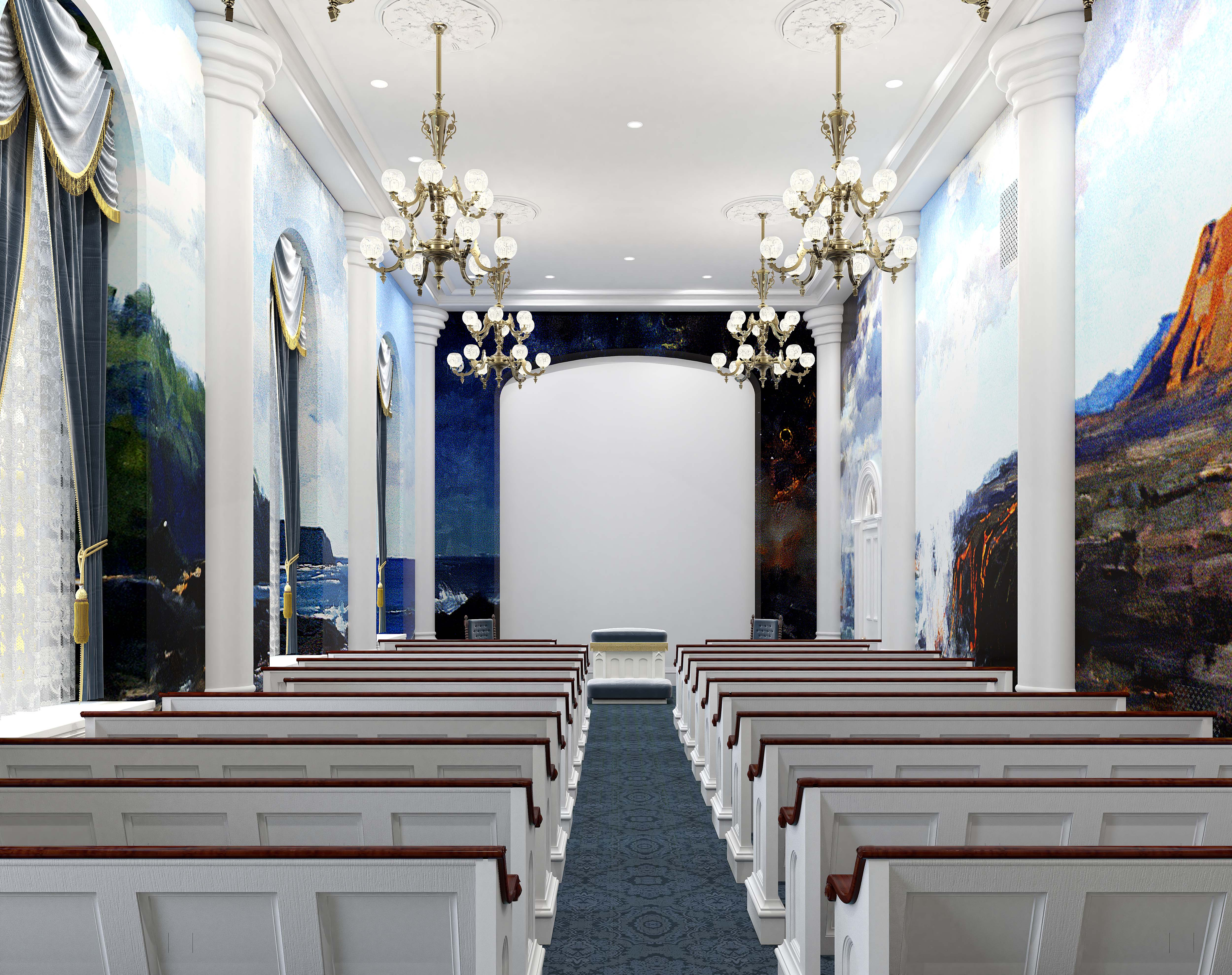 A rendering an instruction room in the St. George Utah Temple. The temple will close Nov. 4 for extensive renovations.