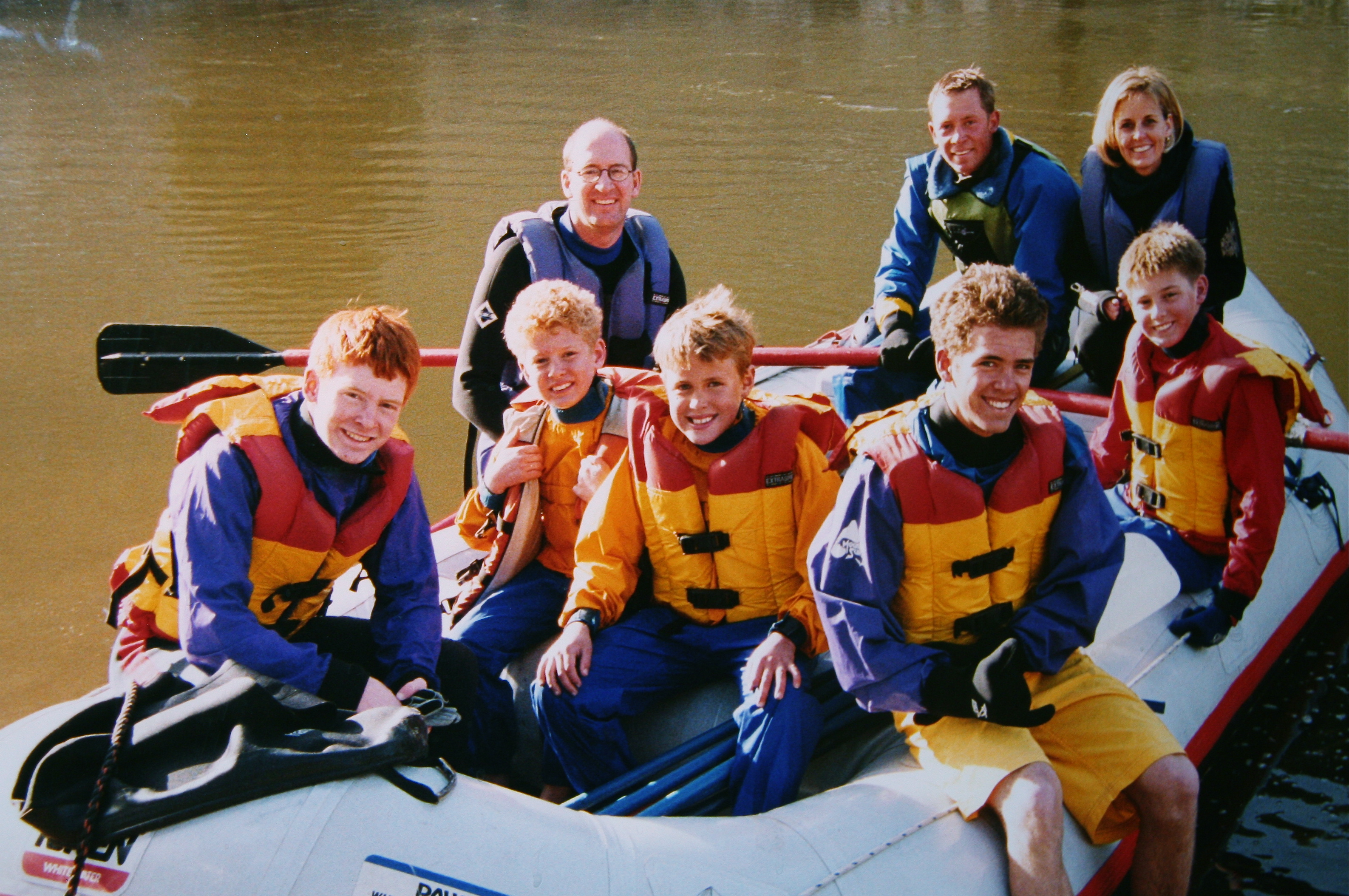 The Featherstone Family river-rafting together.