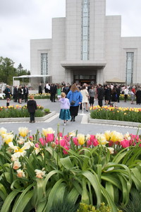 Gather Crowds gather outside the Vancouver British Columbia Temple prior to the first dedicatory session on Sunday, May 2.