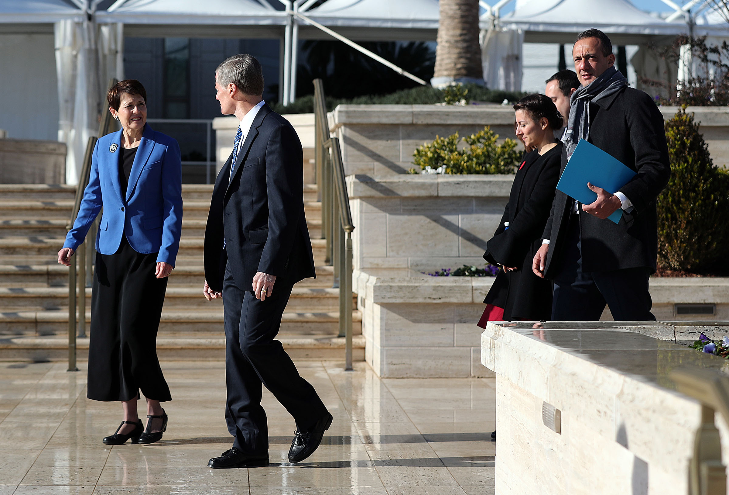 Elder David A. Bednar of the Quorum of the Twelve Apostles of The Church of Jesus Christ of Latter-day Saints and his wife, Sister Susan Bednar, guide a tour of local city officials and dignitaries during the Rome Italy Temple open house on Monday, Jan. 14, 2019. At right is President Marcello De Vito, president of the Rome City Council.