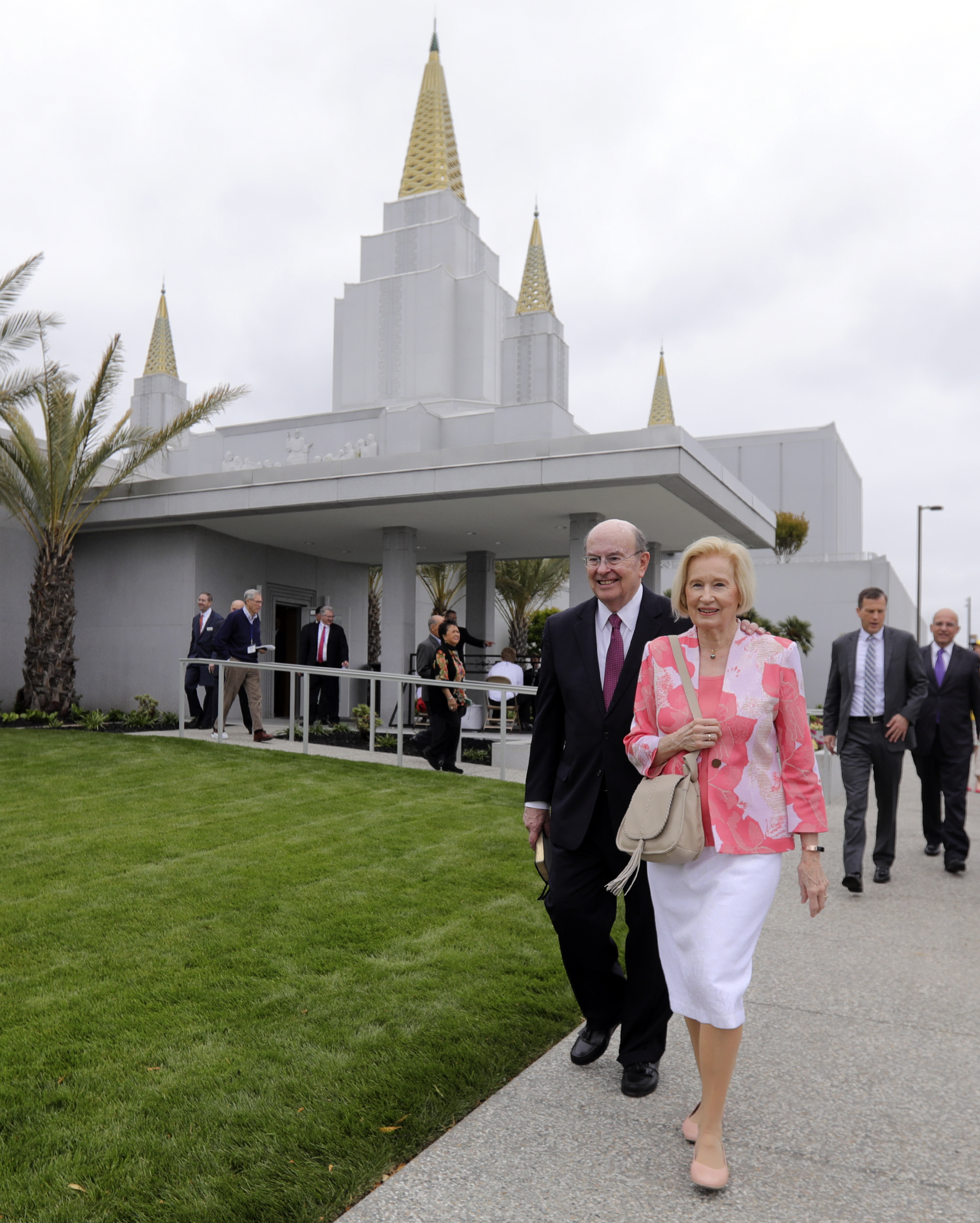 Elder Quentin L. Cook, of the Quorum of the Twelve Apostles, and his wife, Sister Mary G. Cook, finish a tour of the newly renovated Oakland California Temple, of The Church of Jesus Christ of Latter-day Saints, in Oakland, Calif., on Monday, May 6, 2019.