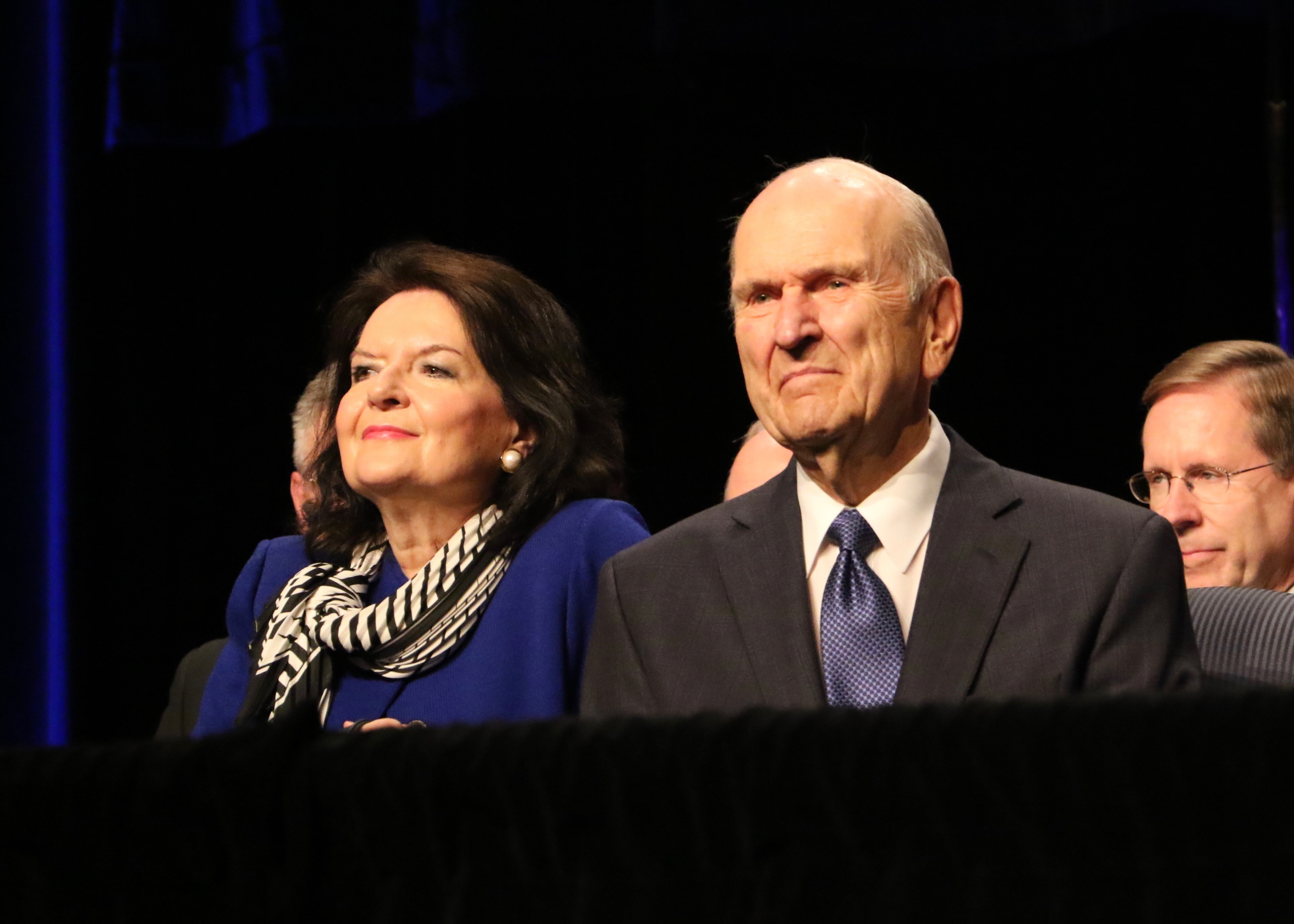 President Russell M. Nelson of The Church of Jesus Christ of Latter-day Saints and his wife, Sister Wendy Nelson, await the start of the Aug. 18, 2018, devotional in the Palais des congrès de Montréal auditorium in Montreal.