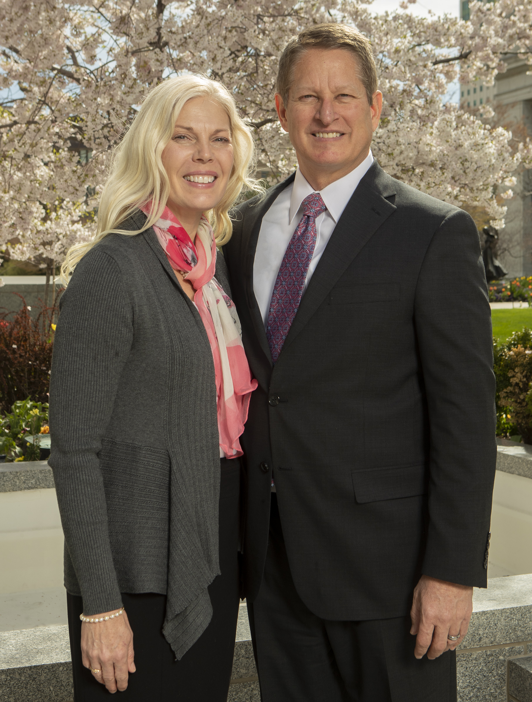 Sister Debbra Kingsbury McCune and Elder John A. McCune pose for a photo at the Church Office Building in Salt Lake City on Monday, April 8, 2019. Elder McCune was called to serve as a General Authority Seventy.
