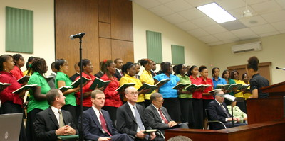 The Jamaica Kingston District Choir sings in the Sunday, Jan. 25, general session.
