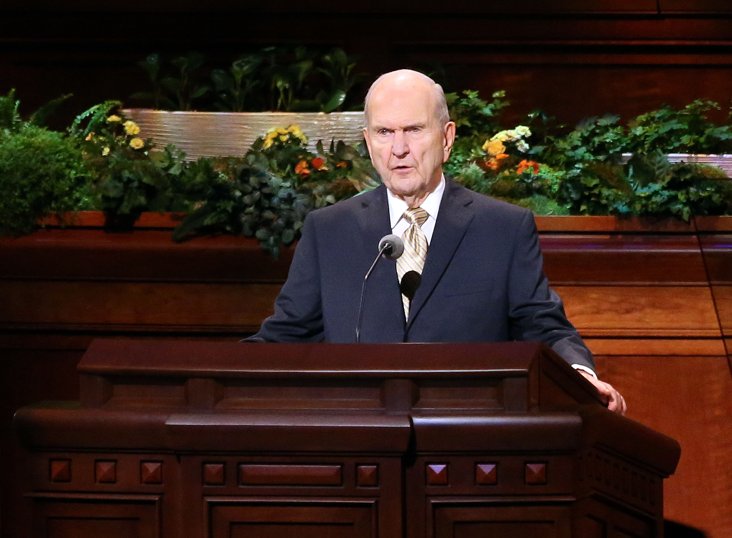 LDS Church President Russell M. Nelson announces that ministering will replace home and visiting teaching programs during the Sunday afternoon session of the 188th Annual General Conference of The Church of Jesus Christ of Latter-day Saints at the Conference Center in Salt Lake City on Sunday, April 1, 2018.
