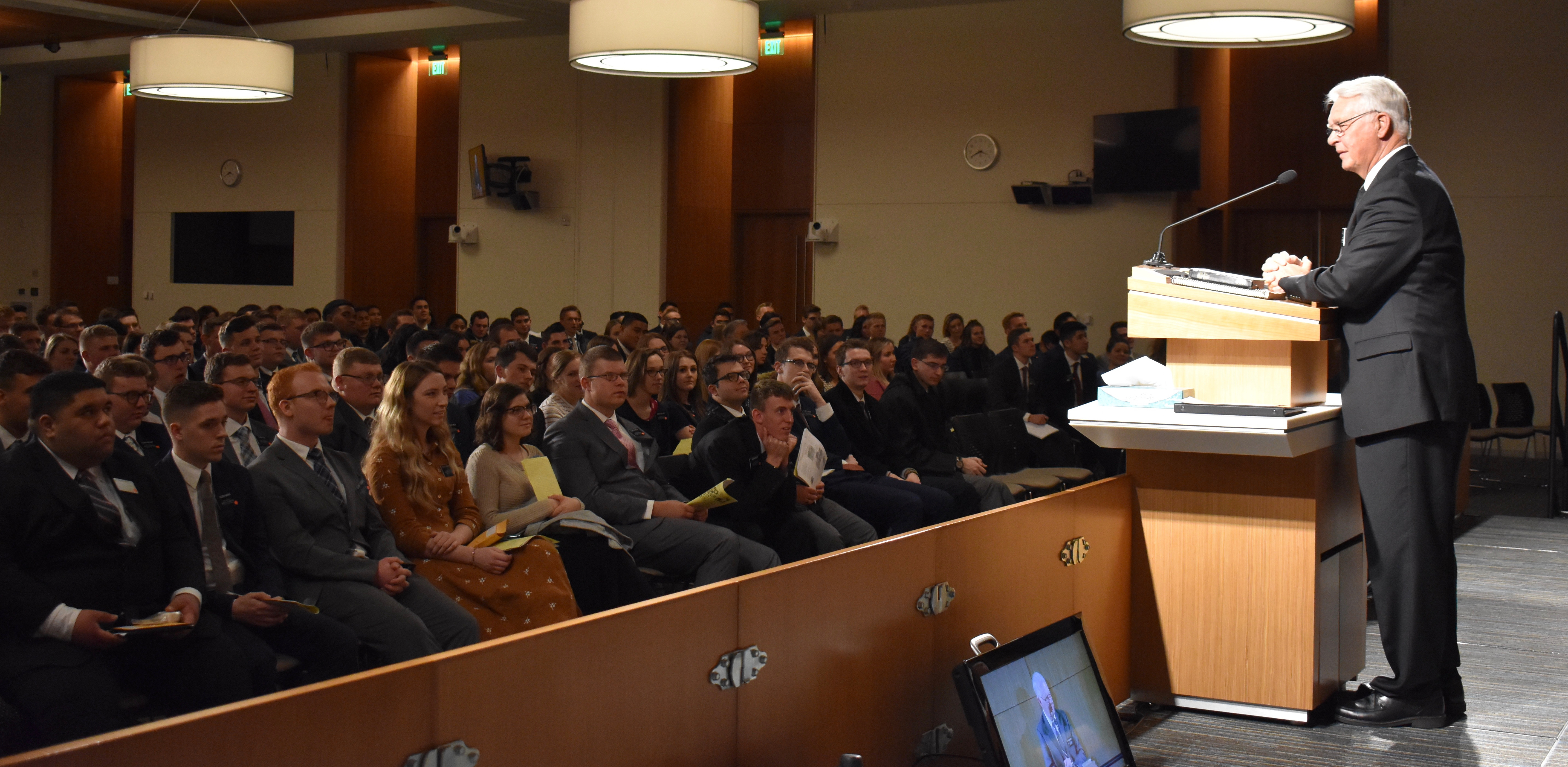 Provo MTC President David E. LeSueur adresses the 326 new missionaries who arrived at the missionary training center earlier that afternoon on Wednesday, Jan. 16, 2019.