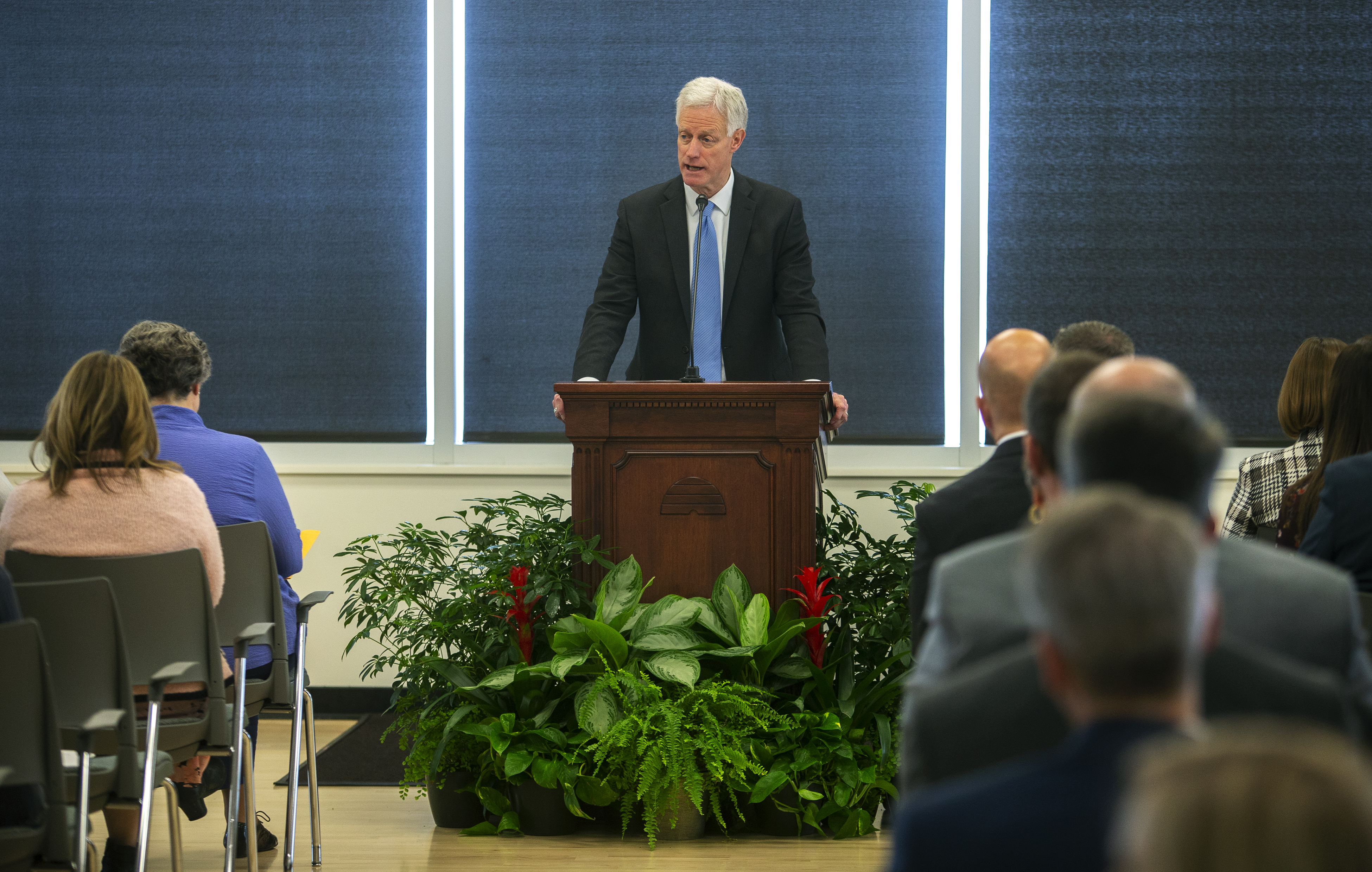 BYU President Kevin J Worthen conducts the meeting prior to Elder Ulisses Soares of the Quorum of the Twelve Apostles speaking and giving the rededication prayer for the Caroline Hemenway Harman Building at BYU in Provo, Utah, on Tuesday, Feb. 5, 2019.
