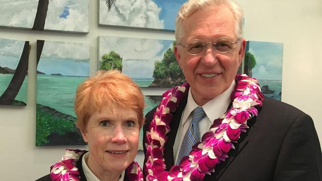 Sister Katherine Christofferson and her husband, Elder D. Todd Christofferson of the Quorum of the Twelve Apostles, during a trip to the Pacific.