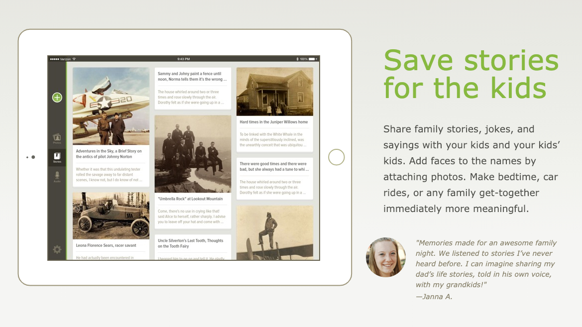 One feature on the FamilySearch Tree mobile app allows users to create stories for family members.