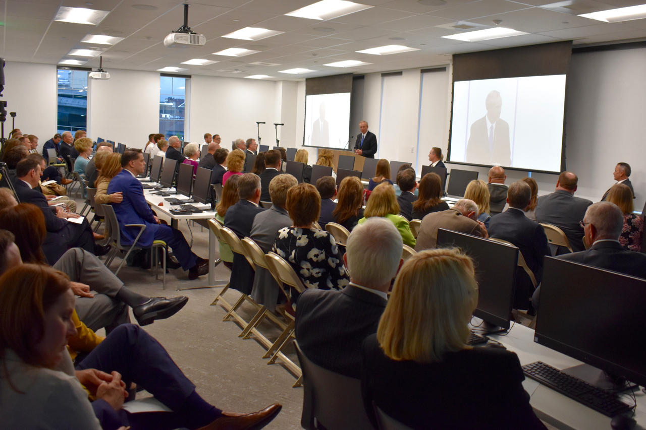 Elder Bradley D. Foster, a General Authority Seventy and executive director of the Church's Family History Department, speaks at the April 30, 2019, dedication of the Ogden Utah FamilySearch Center.