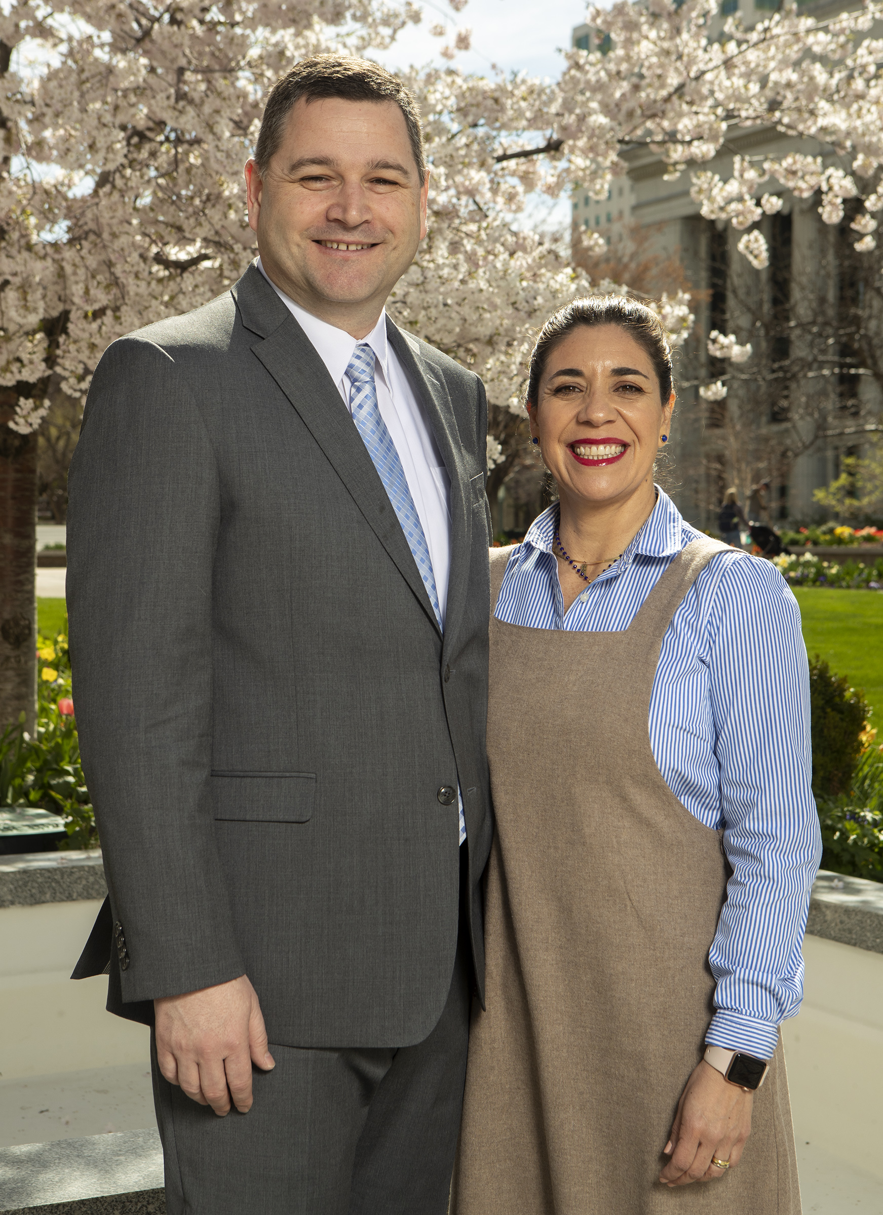 Elder Ricardo P. Giménez and Sister Catherine Giménez pose for photos at the Church Office Building in Salt Lake City on Monday, April 8, 2019. Elder Giménez was called to be a General Authority Seventy.