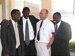 St. Kitts Branch presidency, from left, Jared Thomas, 2nd counselor, Jason Benjamin, president, Chad Burt, 1st counselor, Nijoe Farrell, clerk. Photo by Greg Hill