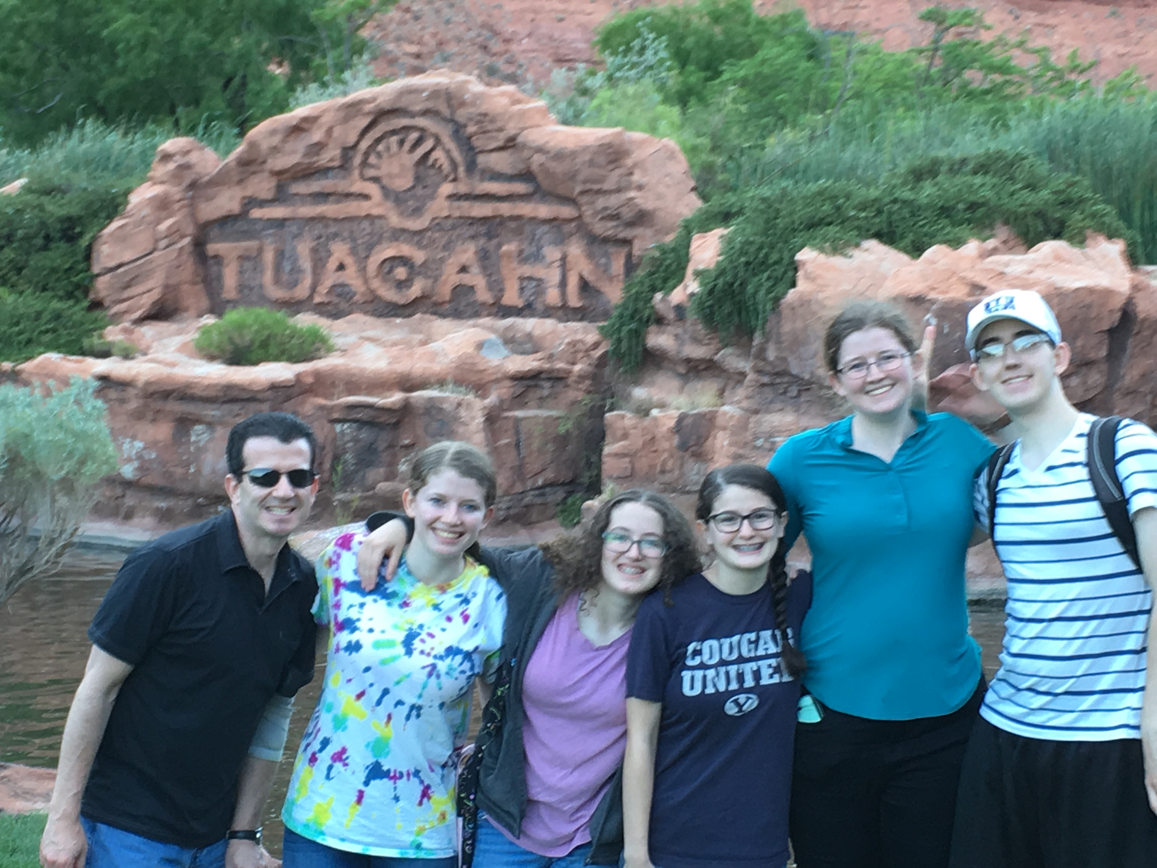 """From left, Jim Jacobs and his children, Emilee, Elena, Catherine, Erin and CJ. Jacobs participated in the prophet's social media challenge to """"take a seven-day break from fake."""""""