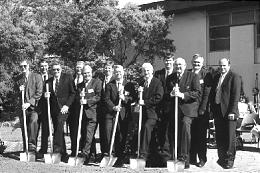 Elder Kenneth Johnson of the Seventy and other Church members participate in groundbreaking for Brisbane Australia Temple.