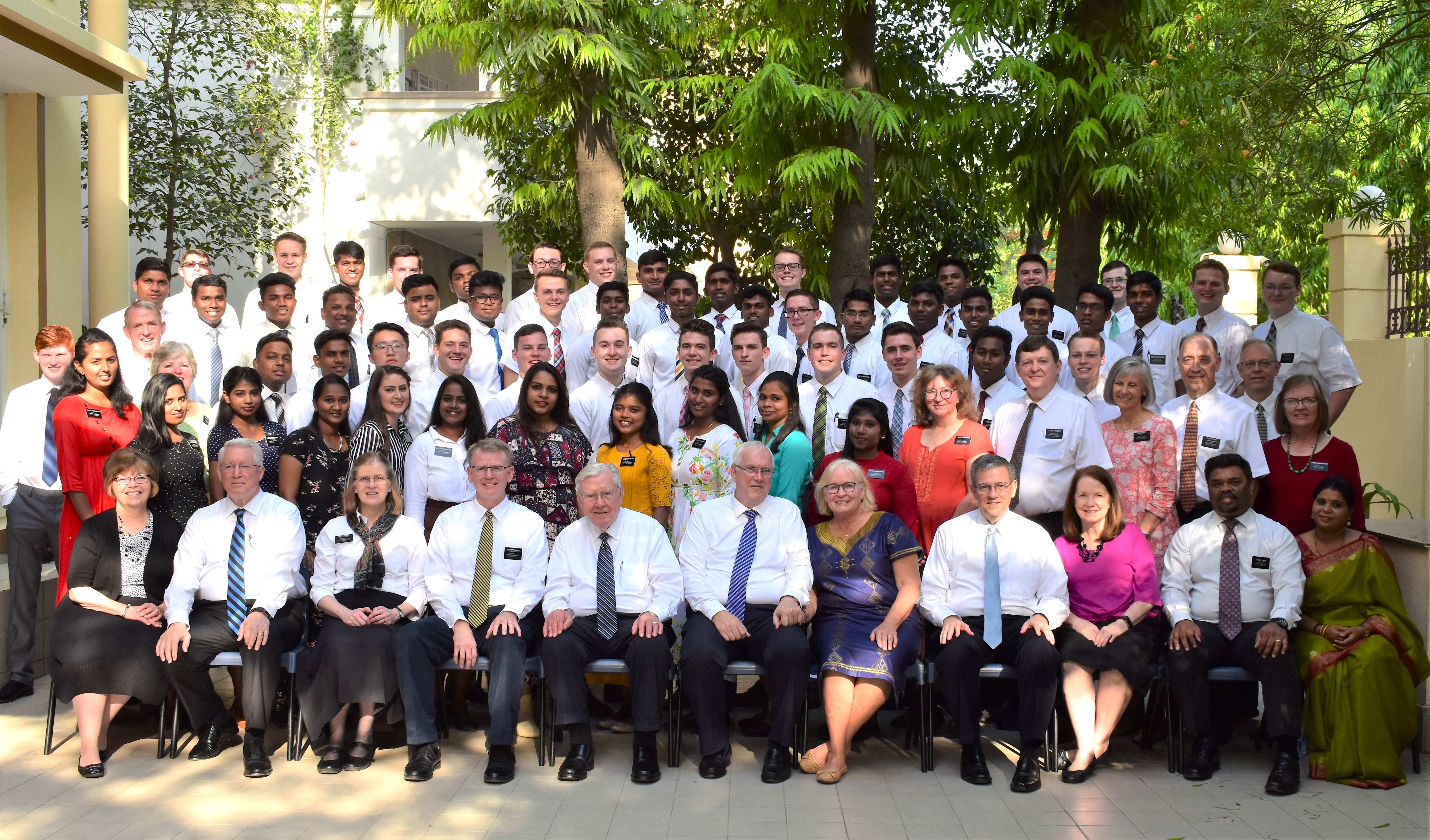 President M. Russell Ballard sits front and center for a group photo with missionaries in the India New Delhi Mission in May 2019.