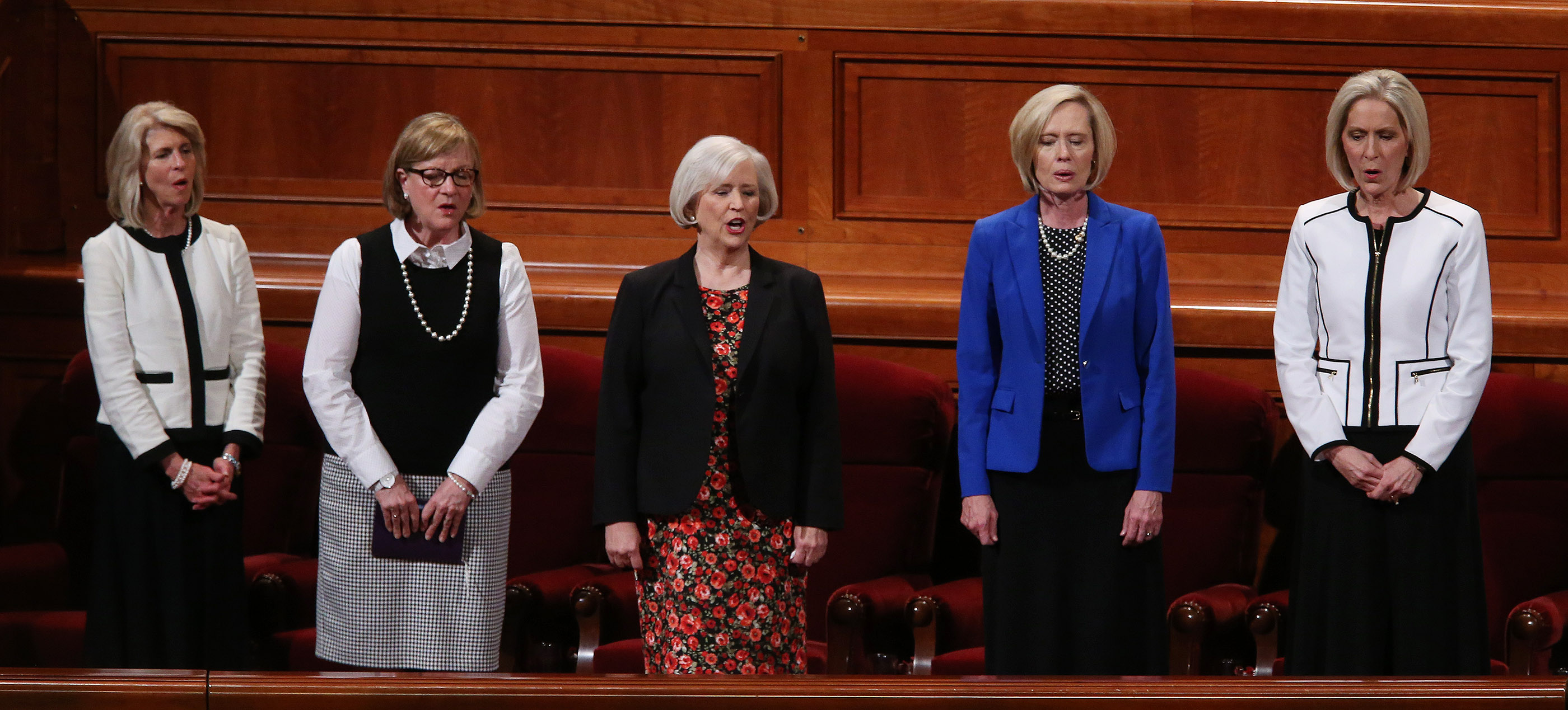 Leaders of the LDS Church's general women's auxiliaries sing during the general women's session of the 187th Semiannual General Conference at the Conference Center in Salt Lake City on Saturday, Sept. 23, 2017.