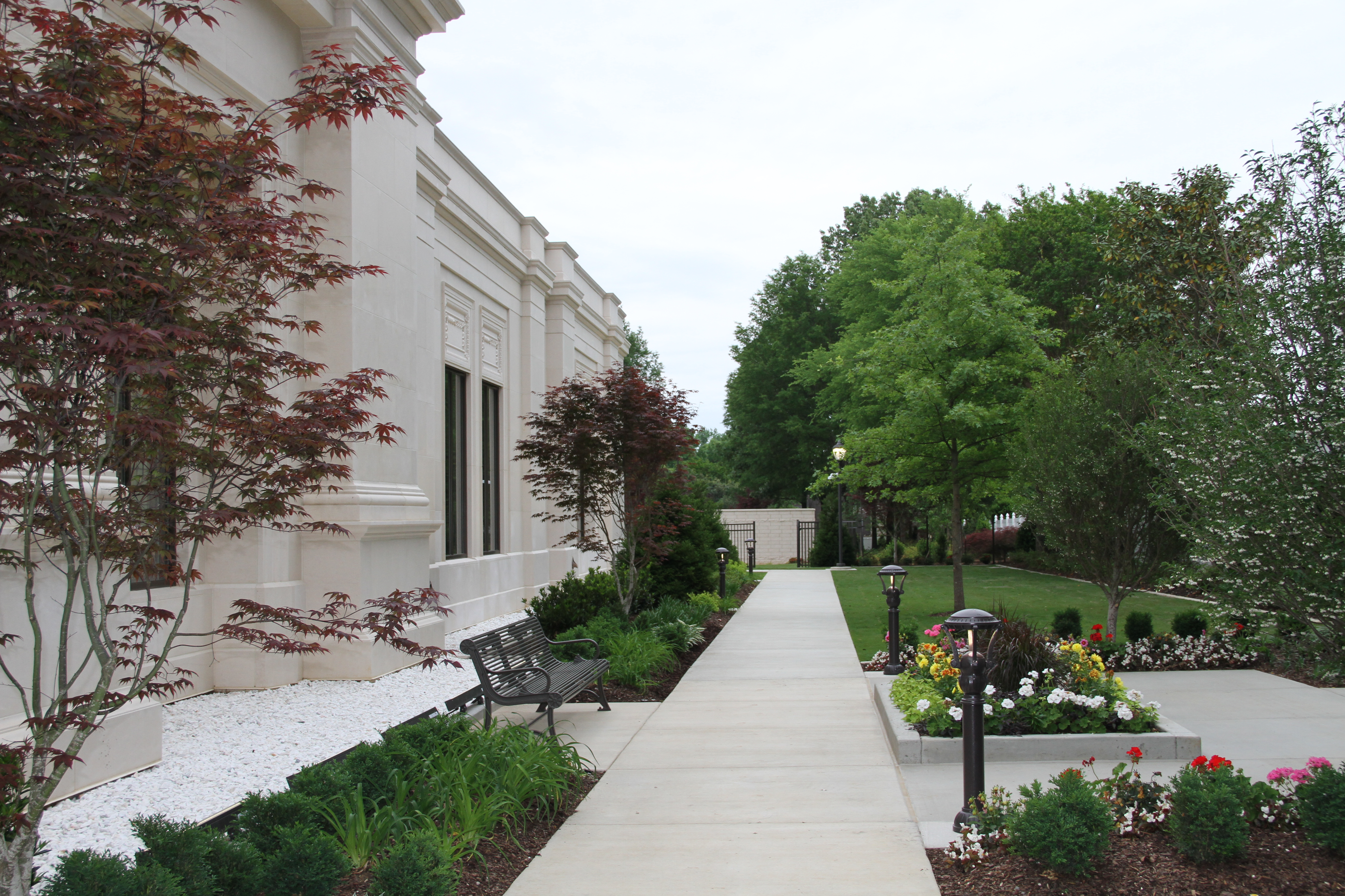 The finished grounds of the Memphis Tennessee Temple on May 3, 2019.