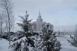 A wintry scene greets Latter-day Saints attending the dedication of the Calgary Alberta Temple on Sunday, Oct. 28. President Thomas S. Monson presided over the dedicatory events.