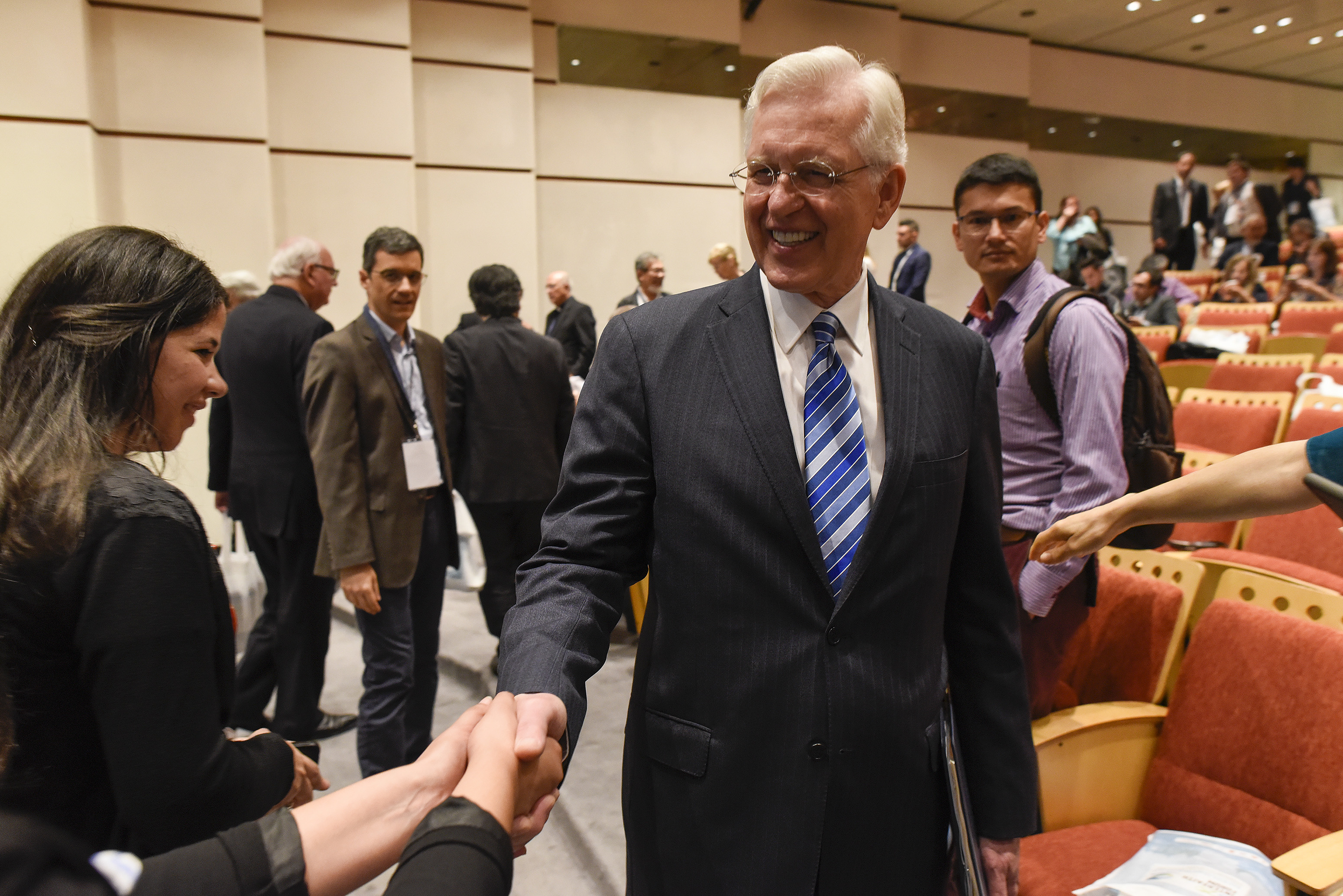Elder D. Todd Christofferson of the Quorum of the Twelve Apostles greets other attendees during a break at the G20 Interfaith Forum in Buenos Aires, Argentina, on Wednesday, Sept. 26, 2018.