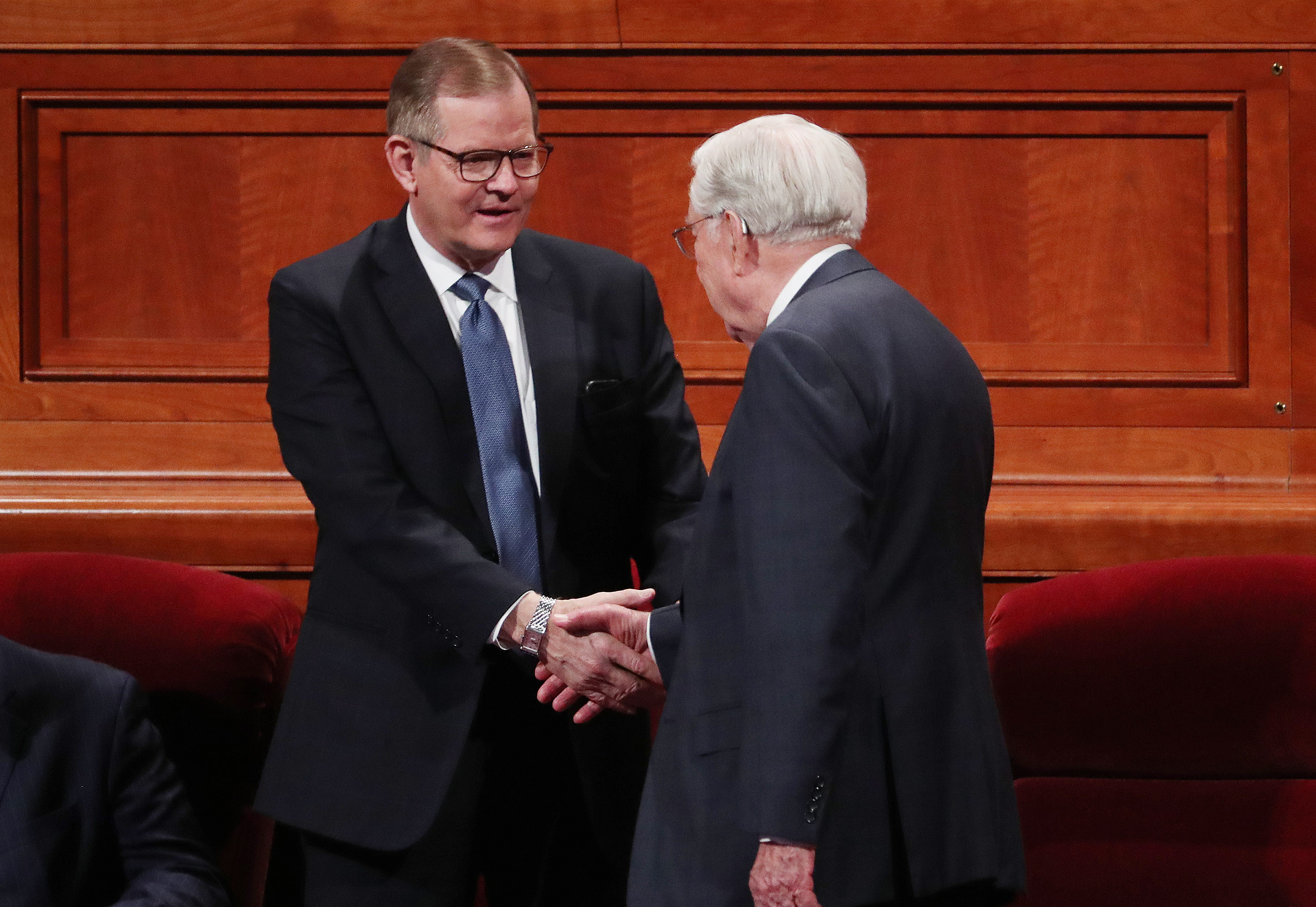 Elder Gary E. Stevenson talks with President M. Russell Ballard, acting president of the Quorum of the Twelve Apostles of The Church of Jesus Christ of Latter-day Saints, prior to the 189th Annual General Conference of The Church of Jesus Christ of Latter-day Saints in Salt Lake City on Saturday, April 6, 2019.