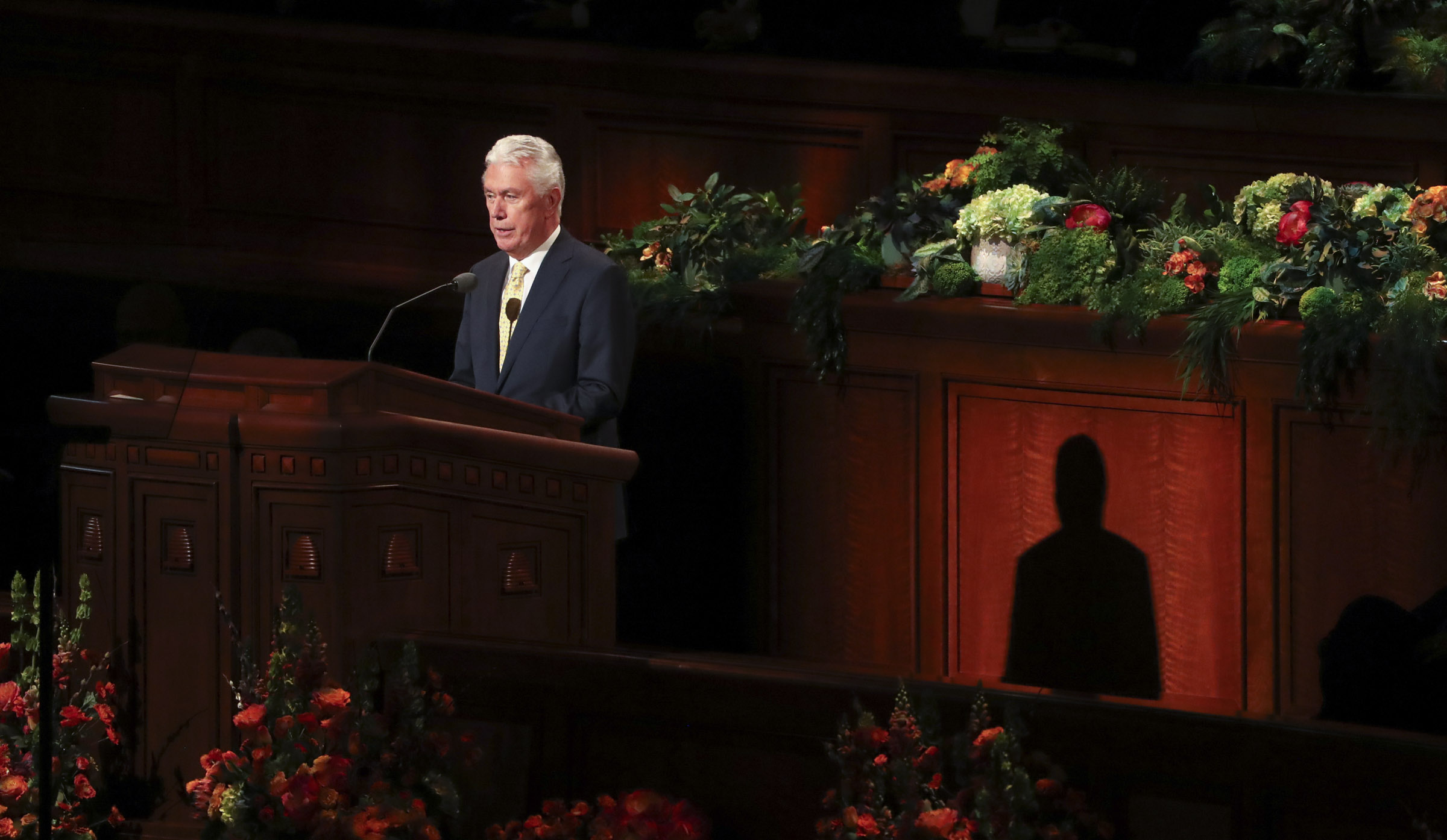 Elder Dieter F. Uchtdorf of the Quorum of the Twelve Apostles speaks in the Conference Center in Salt Lake City during the morning session of the 189th Annual General Conference of The Church of Jesus Christ of Latter-day Saints on Saturday, April 6, 2019.