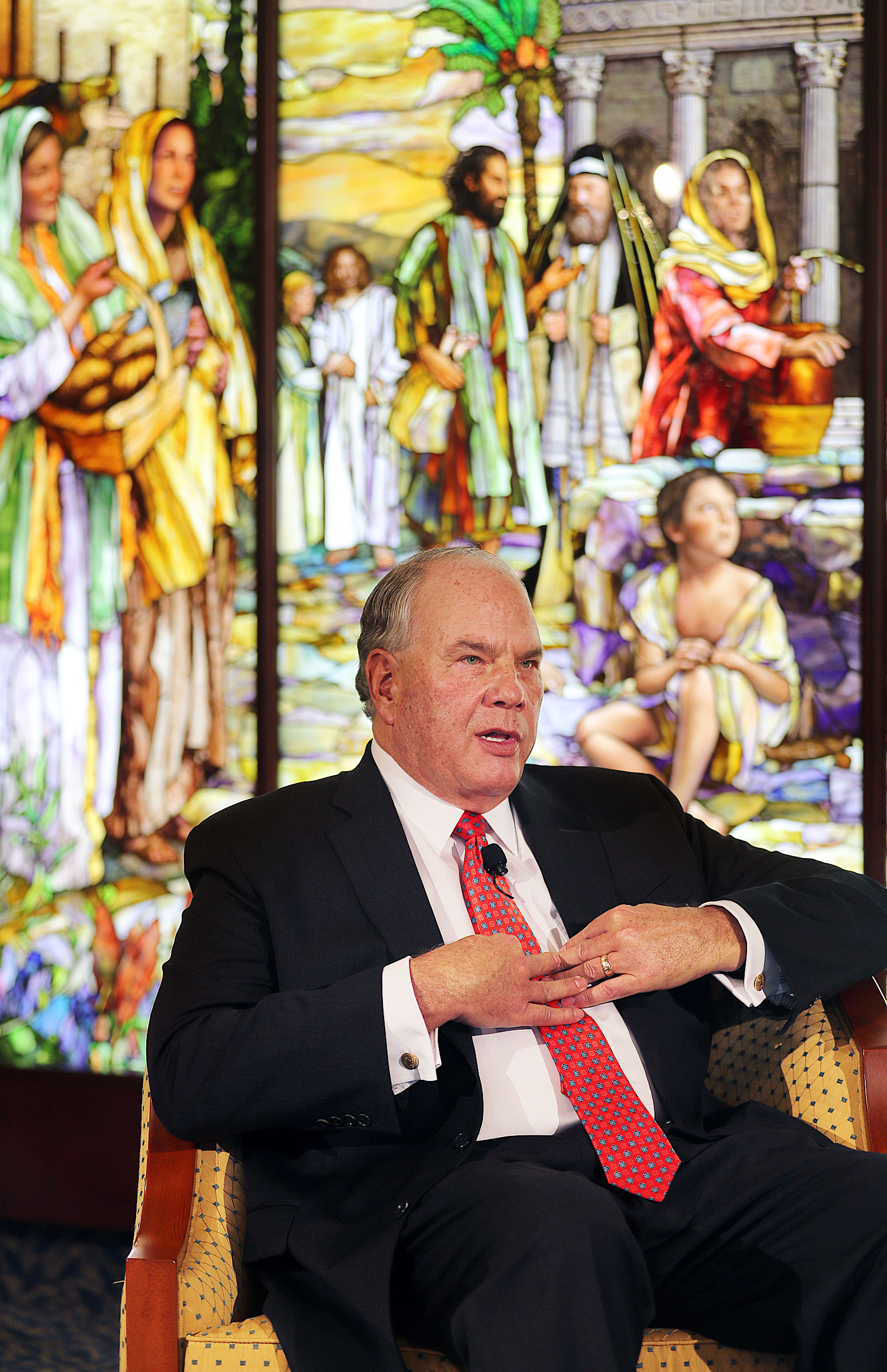 Elder Ronald A. Rasband of the Quorum of the Twelve Apostles answers a question during a press conference in the Rome Temple Visitors' Center of The Church of Jesus Christ of Latter-day Saints on Monday, Jan. 14, 2019.