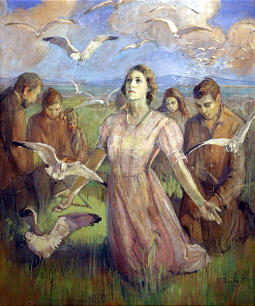 "Minerva Teichert painted ""The Miracle of the Gulls."""
