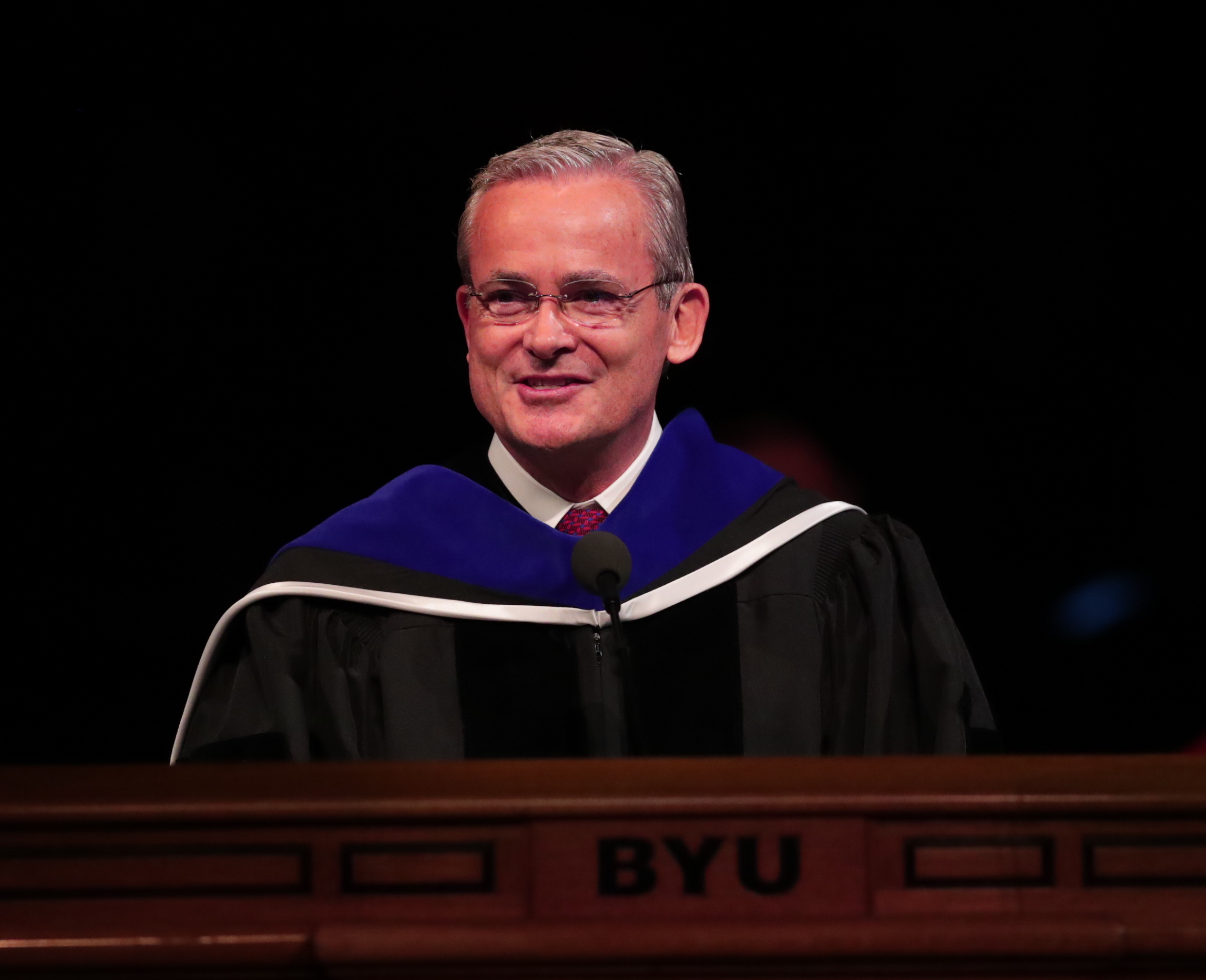 Elder Patrick Kearon of the Presidency of the Seventy offers the principle address at the BYU Commencement on April 25, 2019.