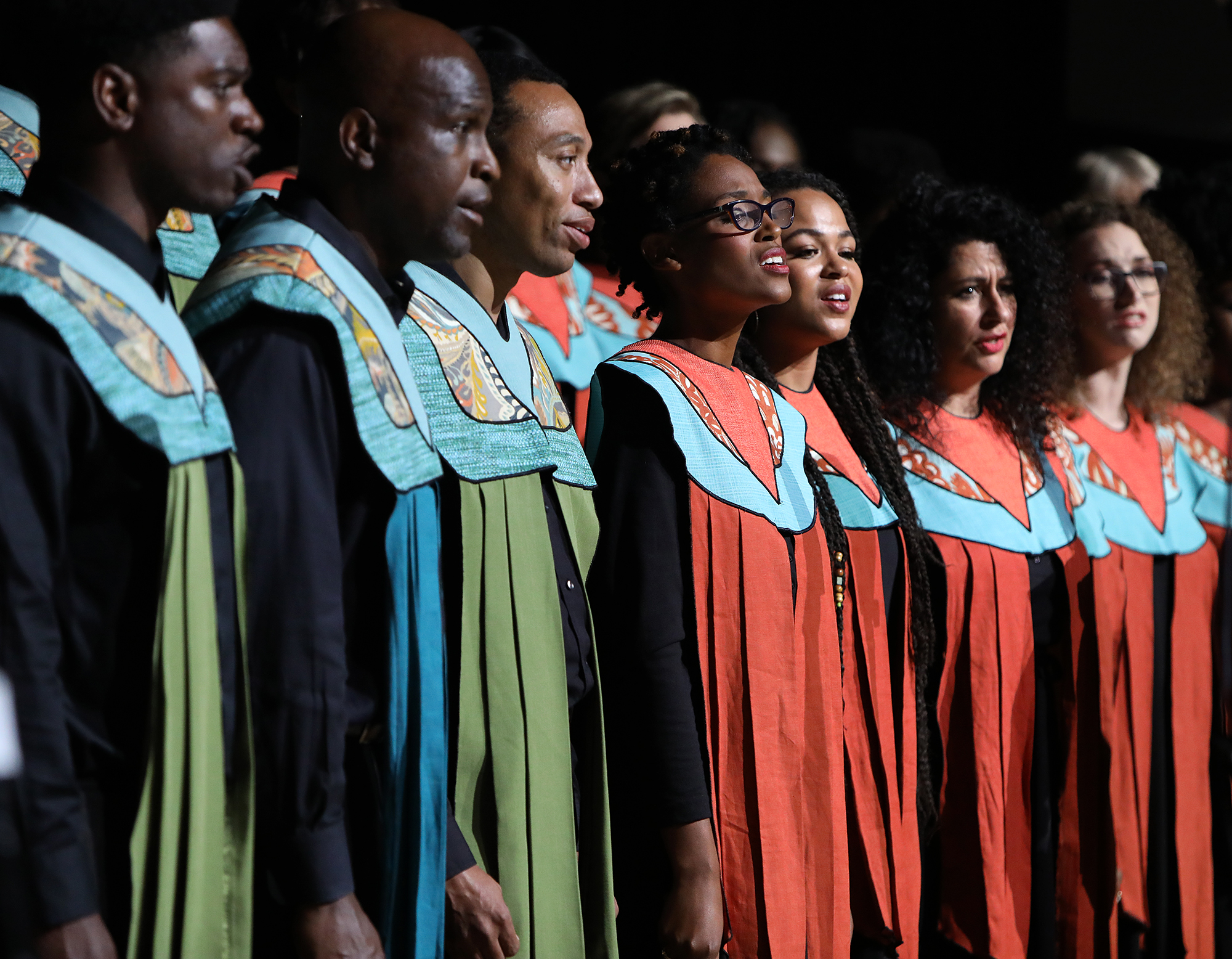 "The Debra Bonner Unity Gospel Choir, an independent LDS choir, performs ""Calvary"" during the 109th NAACP Annual Convention at the Henry B. González Convention Center in San Antonio on Sunday, July 15, 2018."