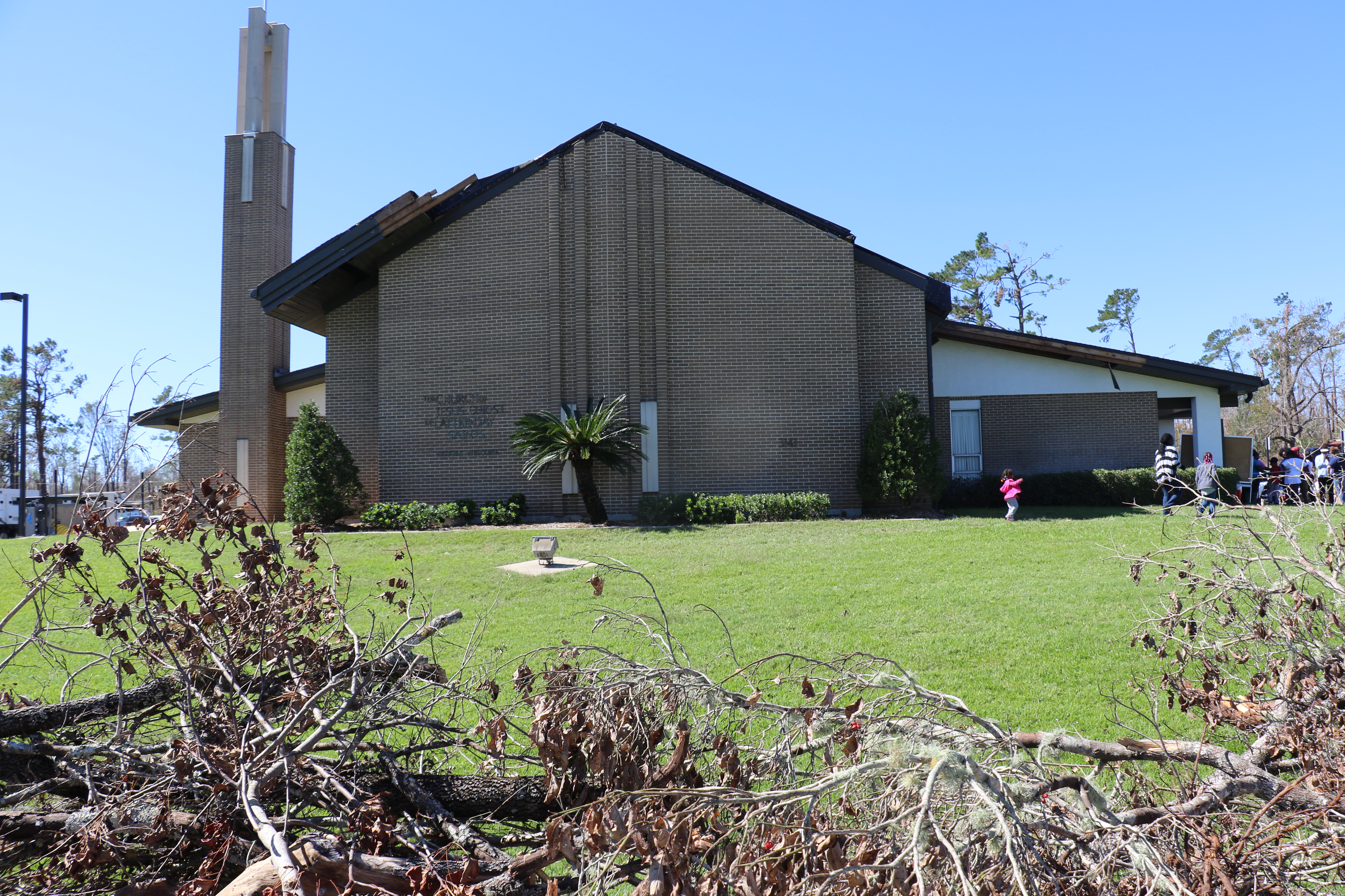 A damaged meetinghouse in Marianna, Florida, meetinghouse is still being used as a Helping Hands command center.