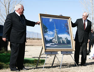Pima Stake President Mark S. Bryce, left, and Elder William R. Walker, executive director of the Temple Department, unveil the artist's rendering of the new 15,000-square-foot temple to be completed next year. This will be Arizona's third temple, following the Mesa Temple built in 1927 and the Snowflake Temple in 2002.