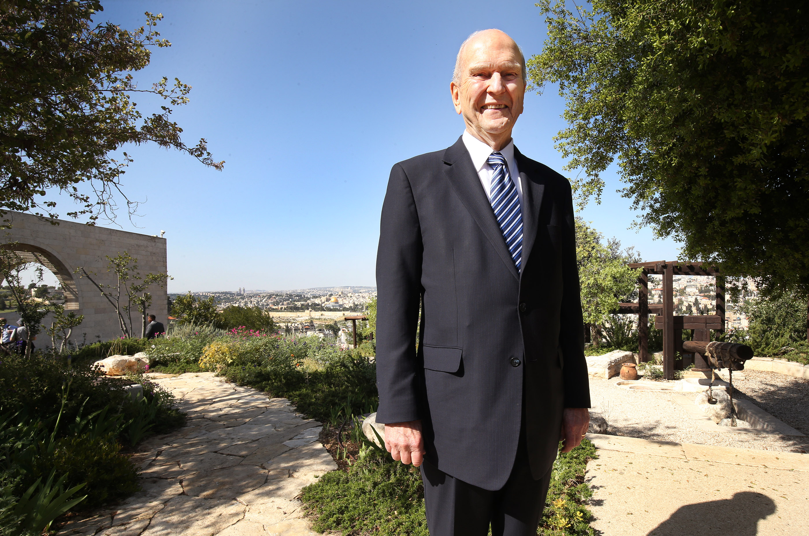 President Russell M. Nelson, president of The Church of Jesus Christ of Latter-day Saints, smiles at the BYU Jerusalem Center in Jerusalem on Saturday, April 14, 2018. President Nelson is on a global tour of eight countries.