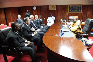 Elder Holland meets with the Vice President of Sierra Leone during his visit to West Africa in Feb. 2012.