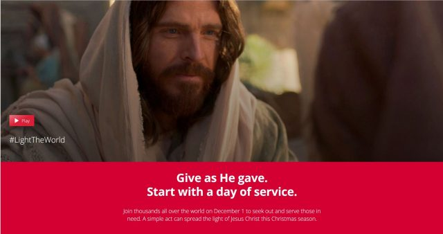 """People around the world will again #LightTheWorld with the Church's campaign promoting service to """"Give as He gave."""""""