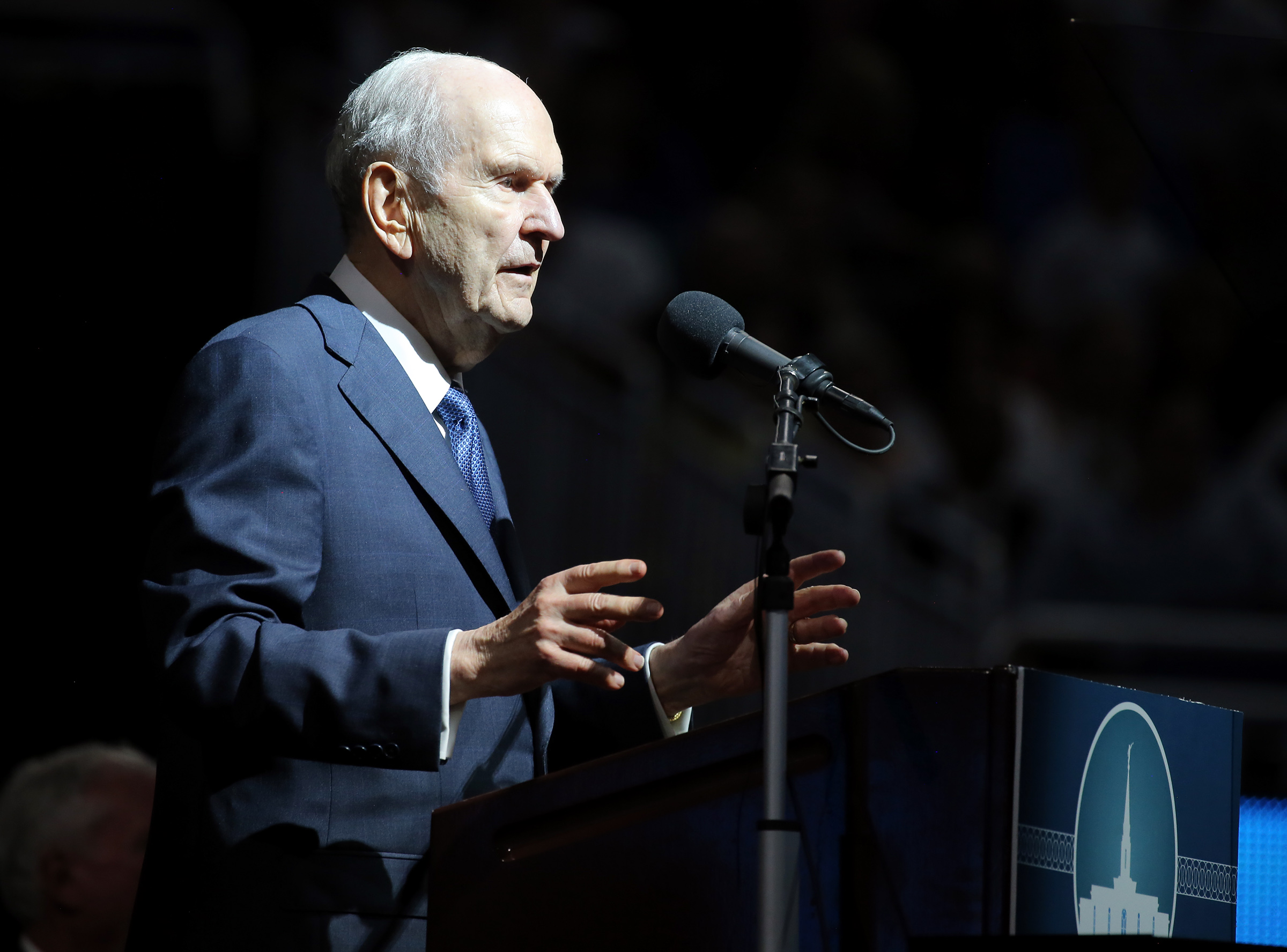 President Russell M. Nelson speaks at the devotional in the Amway Center in Orlando, Florida, on Sunday, June 9, 2019.